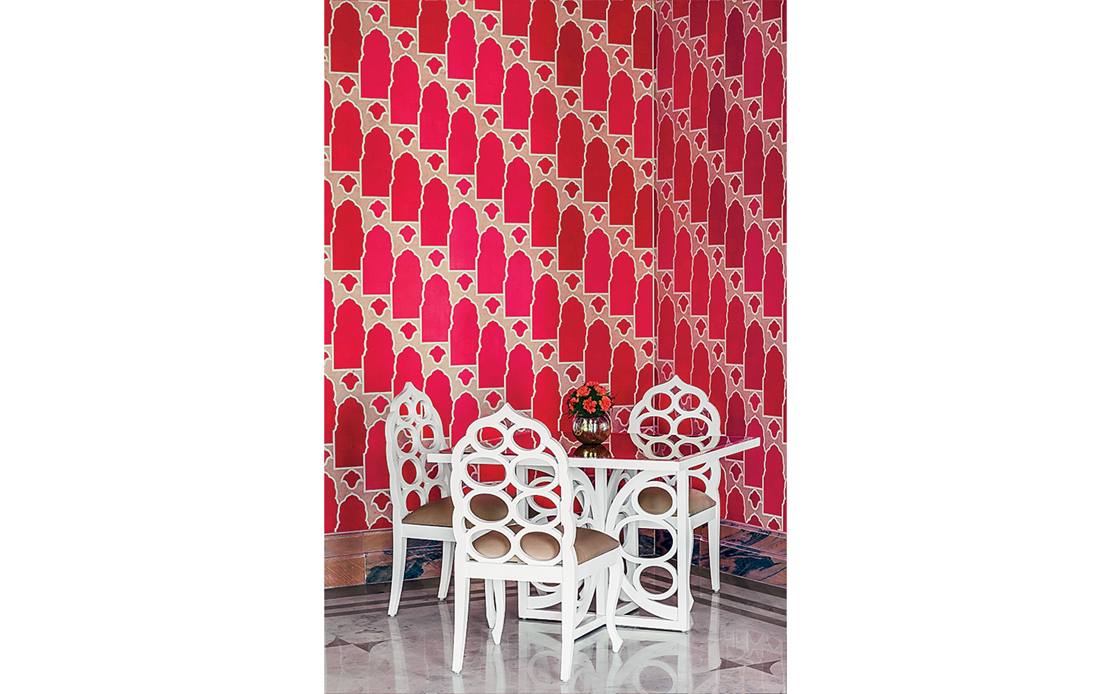 A dining table in the Pink Room