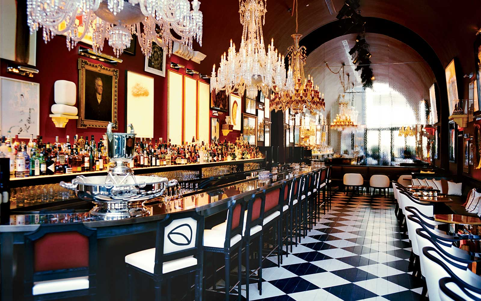 The main bar, decorated with 18th-century and contemporary art