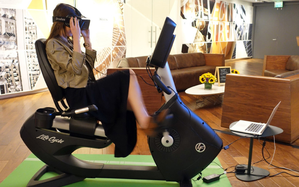 11 Amazing Things Found in the Hotel Room of the Future: Virtual reality bike rides