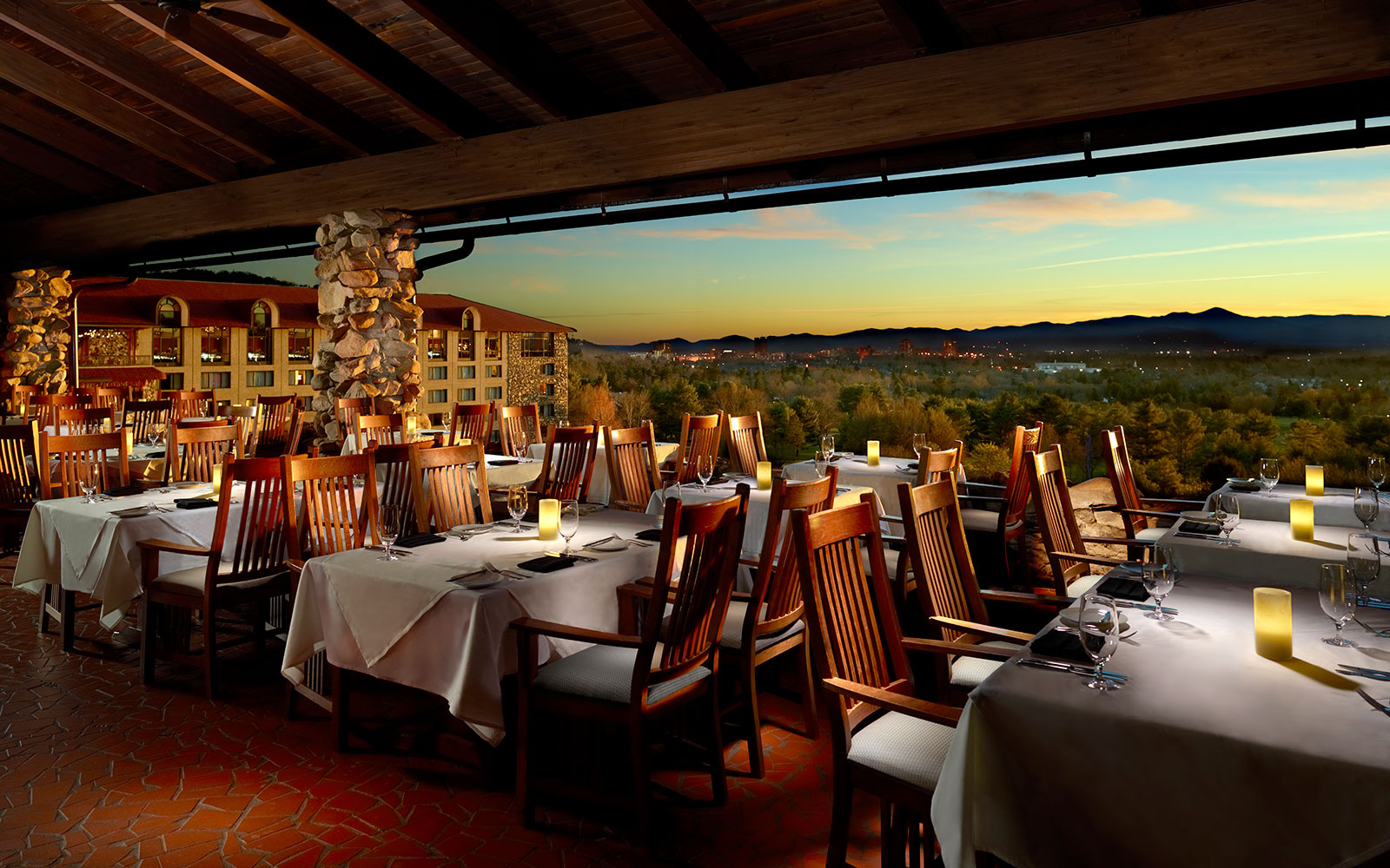 Ten of America's Best Outdoor Dining Spots, According to OpenTable: Sunset Terrace in Asheville, North Carolina