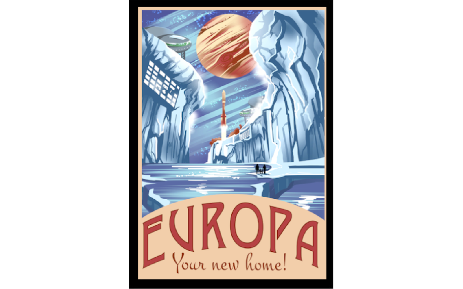 Vintage Space Posters: Book an Extended Stay Villa on Europa