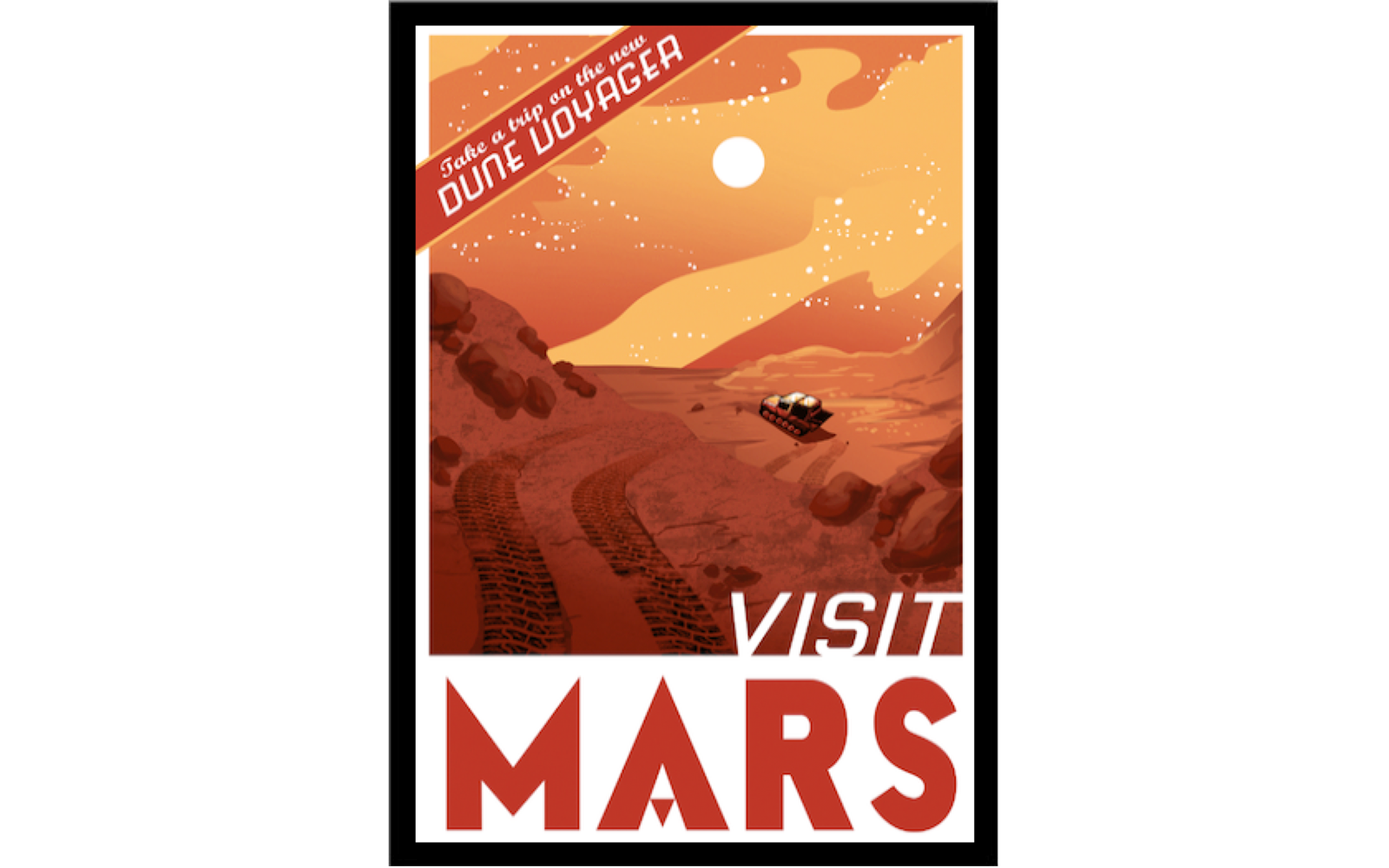 Vintage Space Travel Posters: Luxury Tented Camps in Martian Red Deserts
