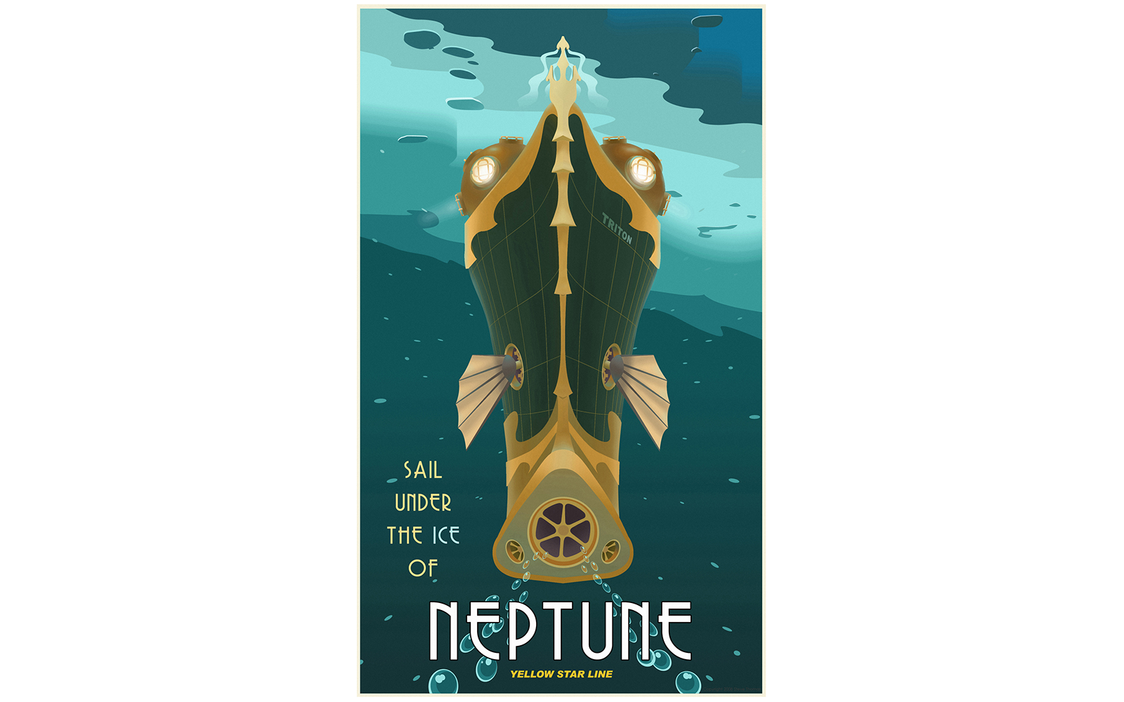 Vintage Space Travel Posters: Embark with Neptune Cruises