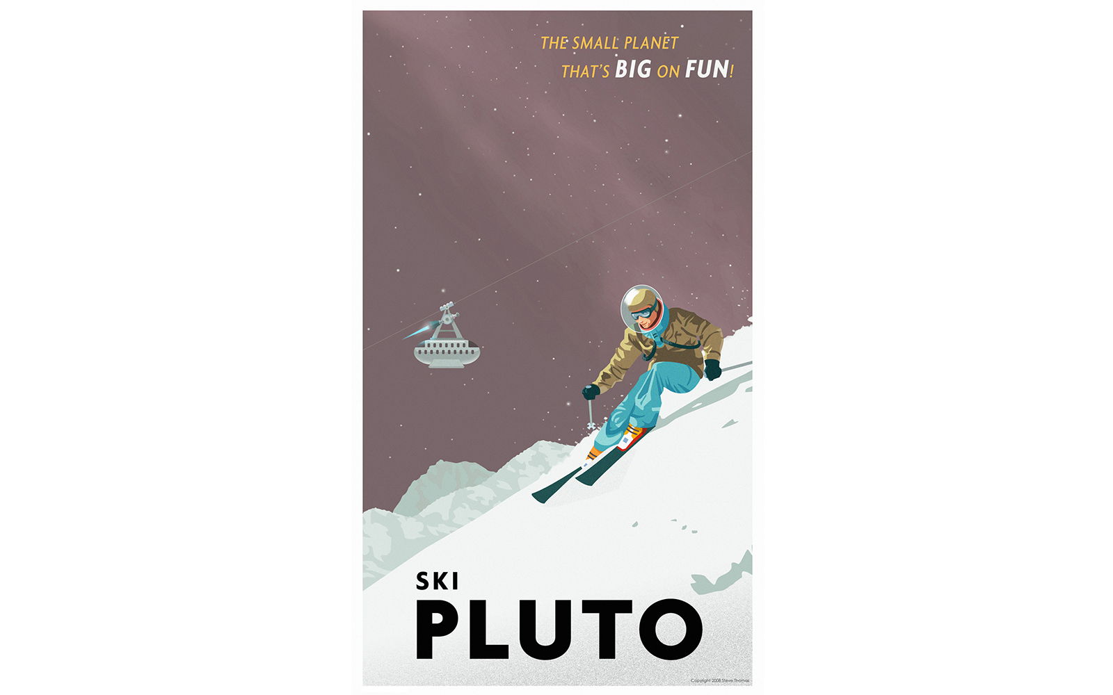 Vintage Space Travel Posters: The New Aspen: Ski Pluto