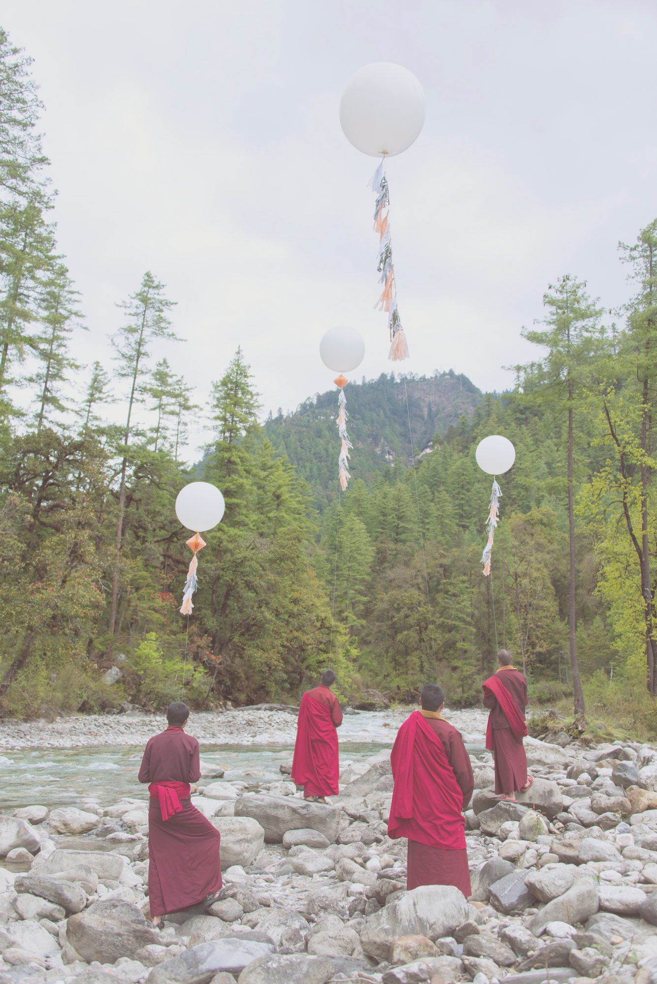 Bhutan by Grey Malin, monks with balloons