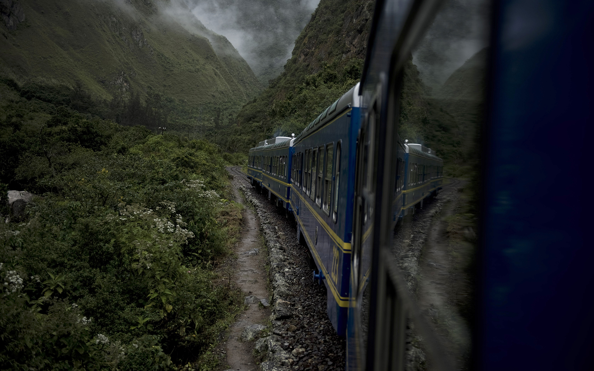 View from the train heading to the Machu Picchu achaeological site, on April 1 2010. The formal reopening of the ancient Inca citadel was held Thursday, with a hand from Hollywood actress Sarandon. The 15th-century city perched around 2,500 meters (8,200