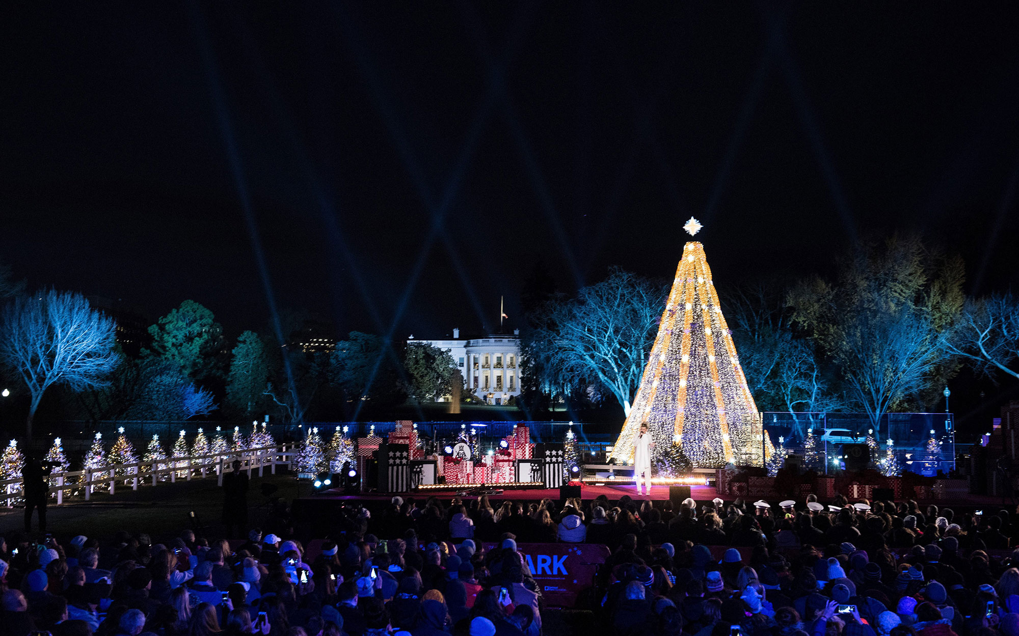 The National Christmas Tree is seen after its lighting on the Ellipse of the National Mall December 3, 2015 in Washington, DC. The First Family was joined by celebrities and guests to light the National Christmas tree during an evening of performances. AF