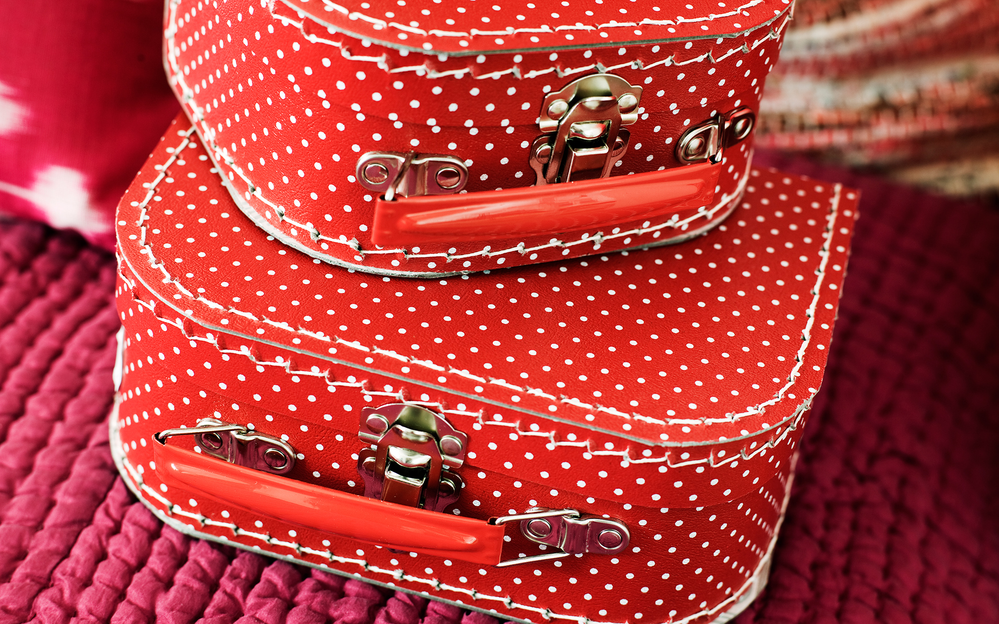 Small red suitcases