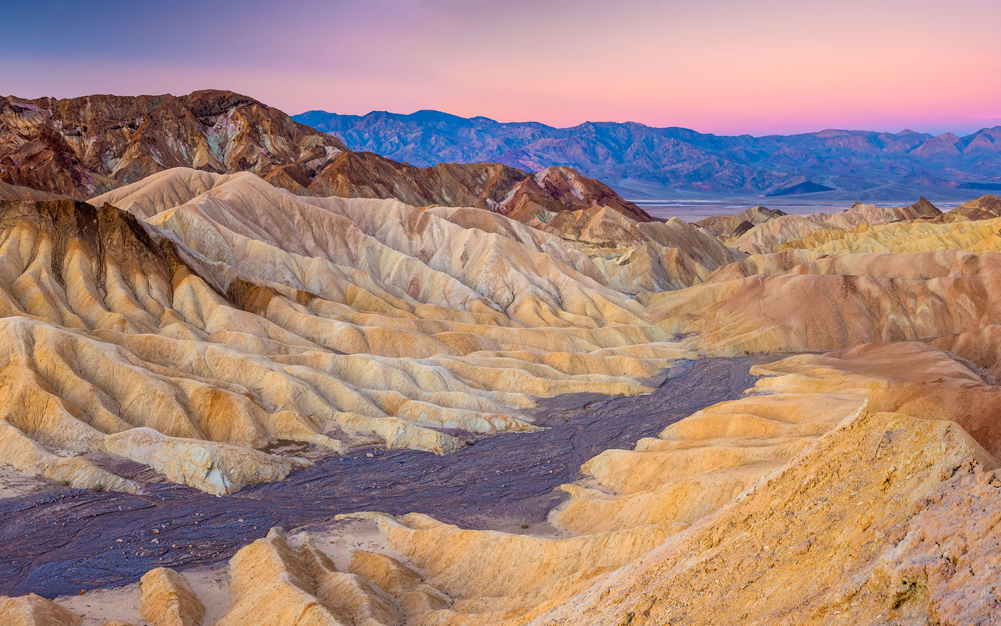 USA, North America, California, Death Valley National Park, Zabriskie Point at sunset