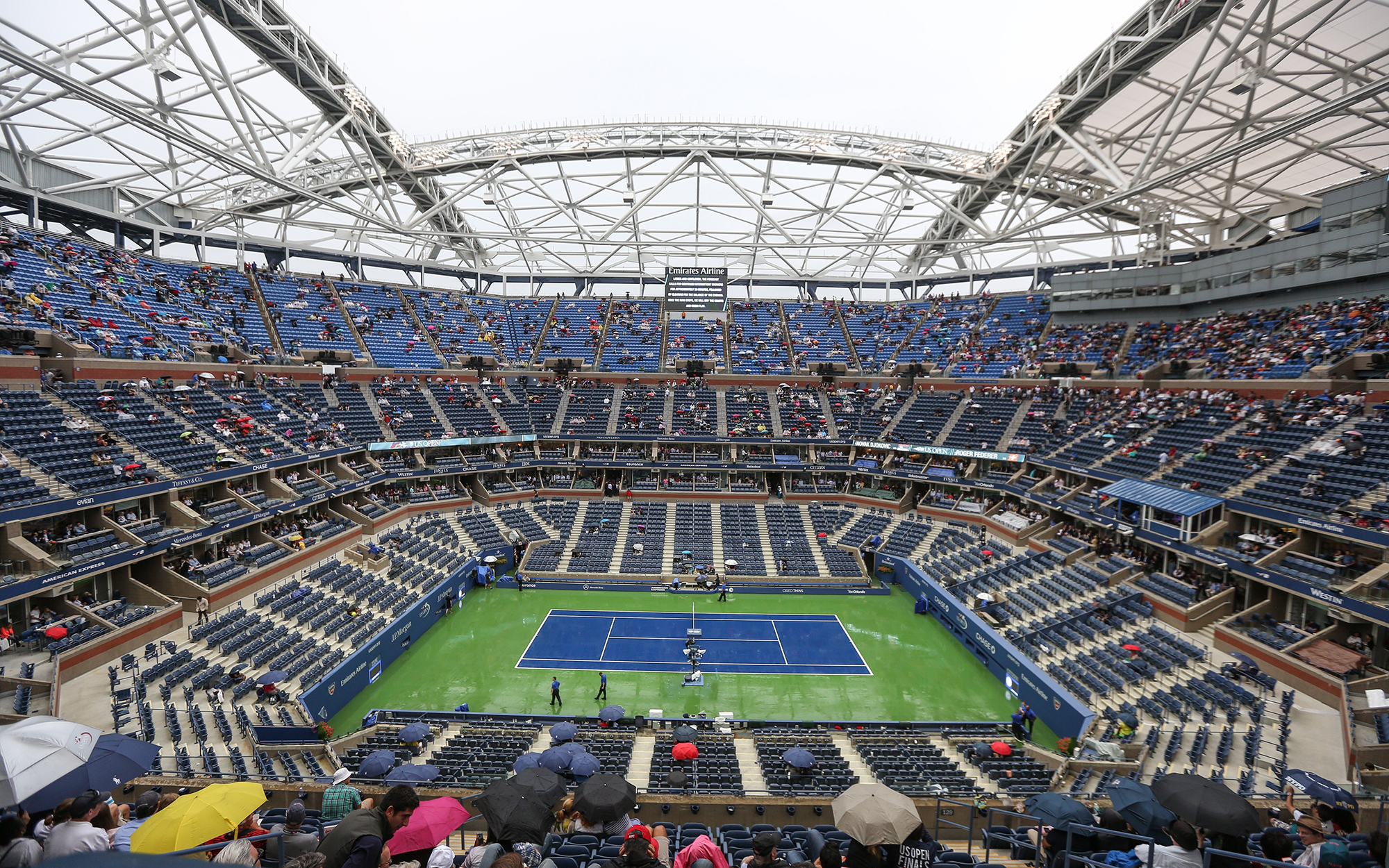 NEW YORK, NY - SEPTEMBER 13: The final match of Novak Djokovic and Roger Federer is delayed due to rain ahead of men's singles final of the 2015 US Open at the Arthur Ashe Stadium on September 13, 2015 in New York City. The match will be played after the
