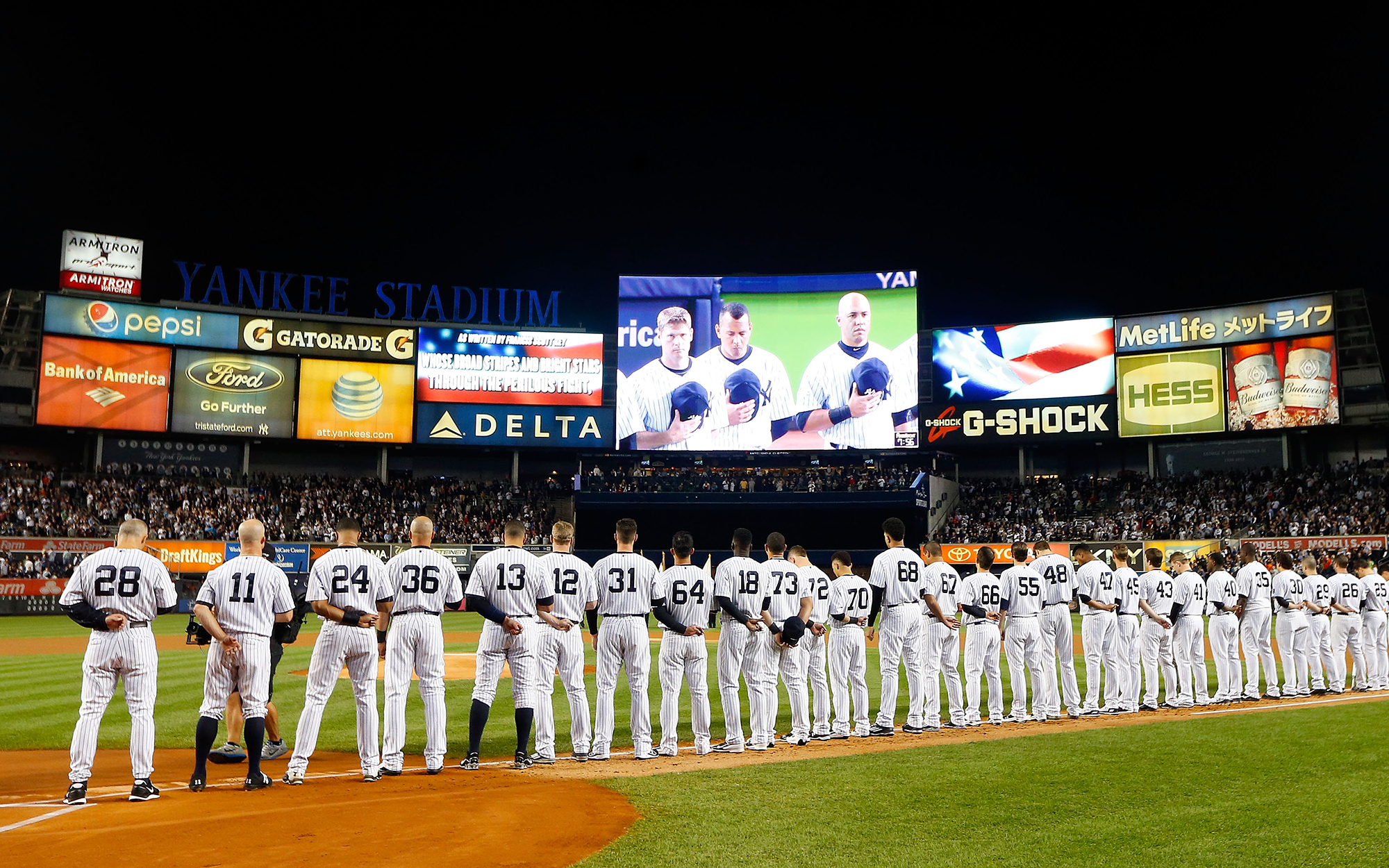 NEW YORK, NY - OCTOBER 06:  (NEW YORK DAILIES OUT)   The New York Yankees and the Houston Astros stand for the national anthem before the American League Wild Card Game at Yankee Stadium on October 6, 2015 in the Bronx borough of New York City, New York.