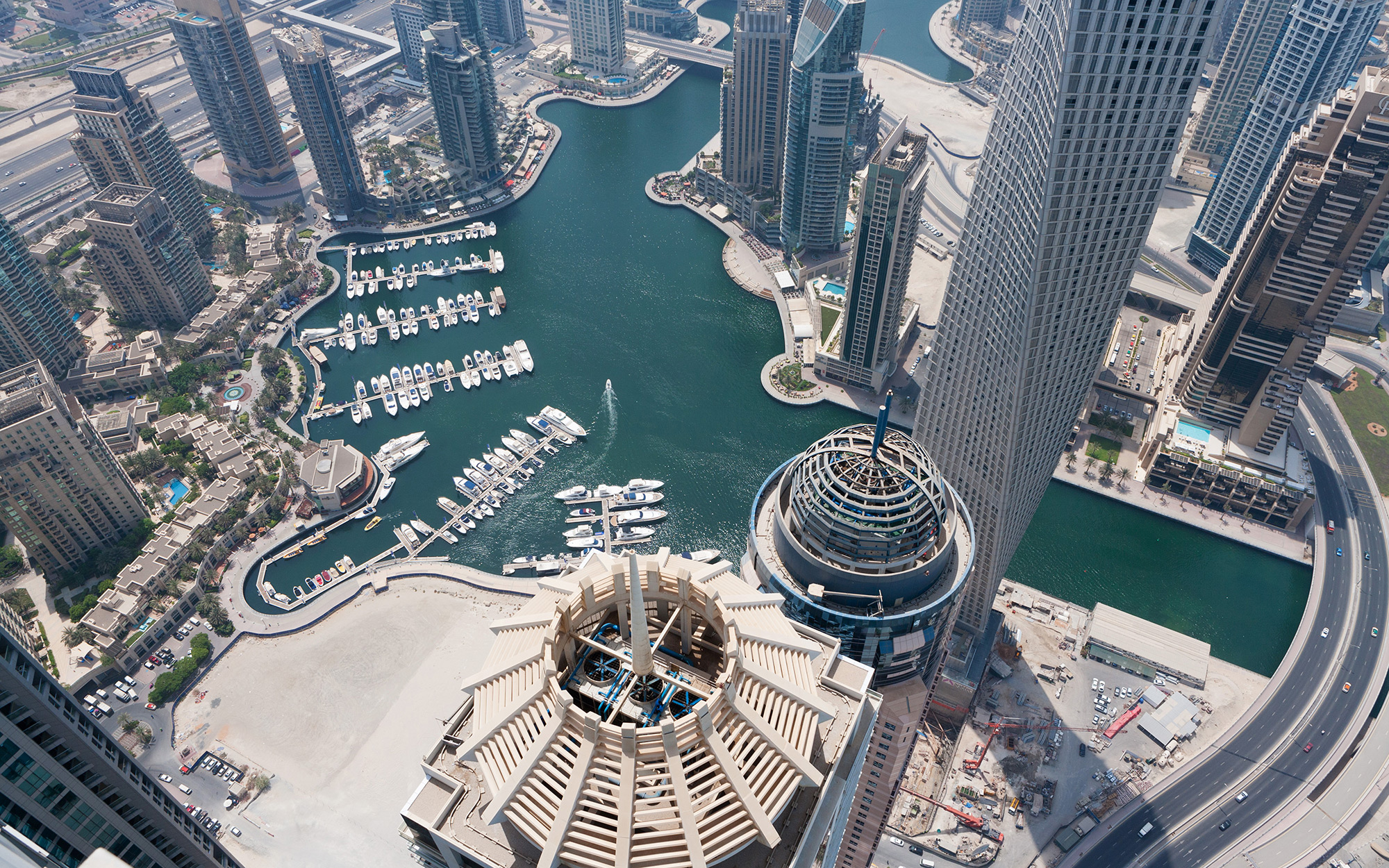 Dubai Marina is seen from the Princess Tower in Dubai, United Arab Emirates, on Wednesday, Sept. 12, 2012. The Princess tower, developed by Tameer Holding, is a 107-floor residential building with a height of 414 meters and is the tallest residential buil
