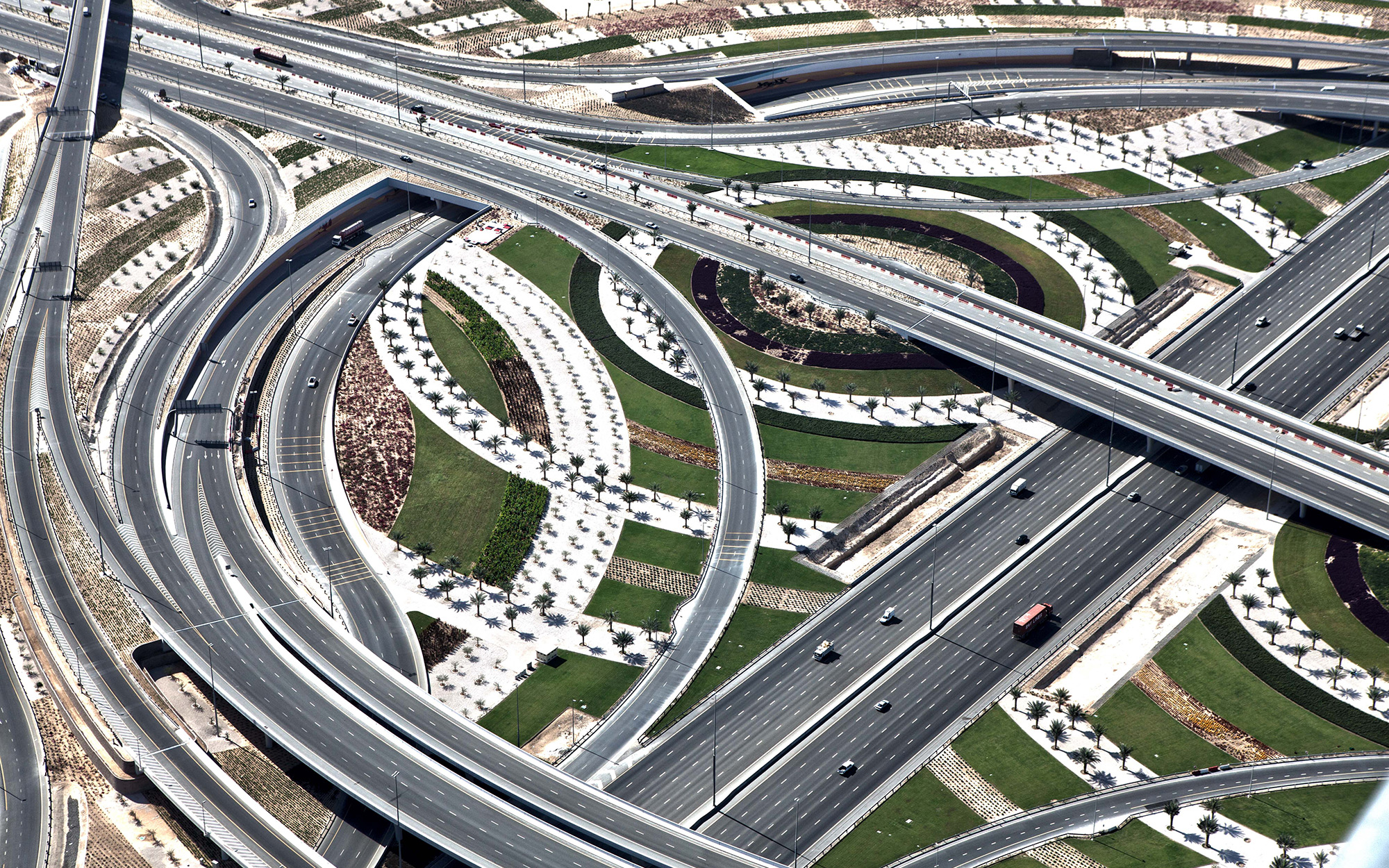 Aerial Photo of Dubai Highway Interchange.