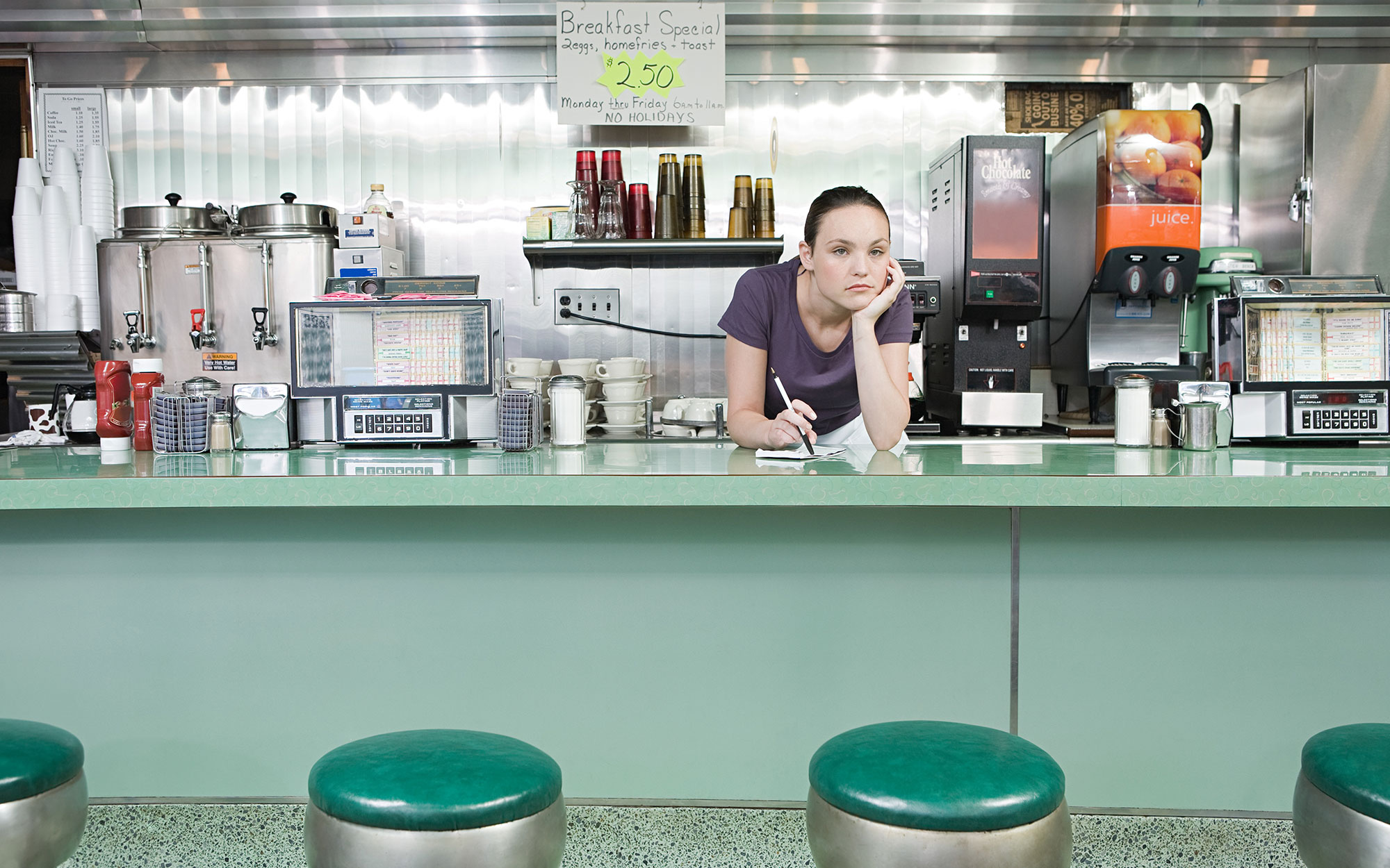 Bored waitress in a diner