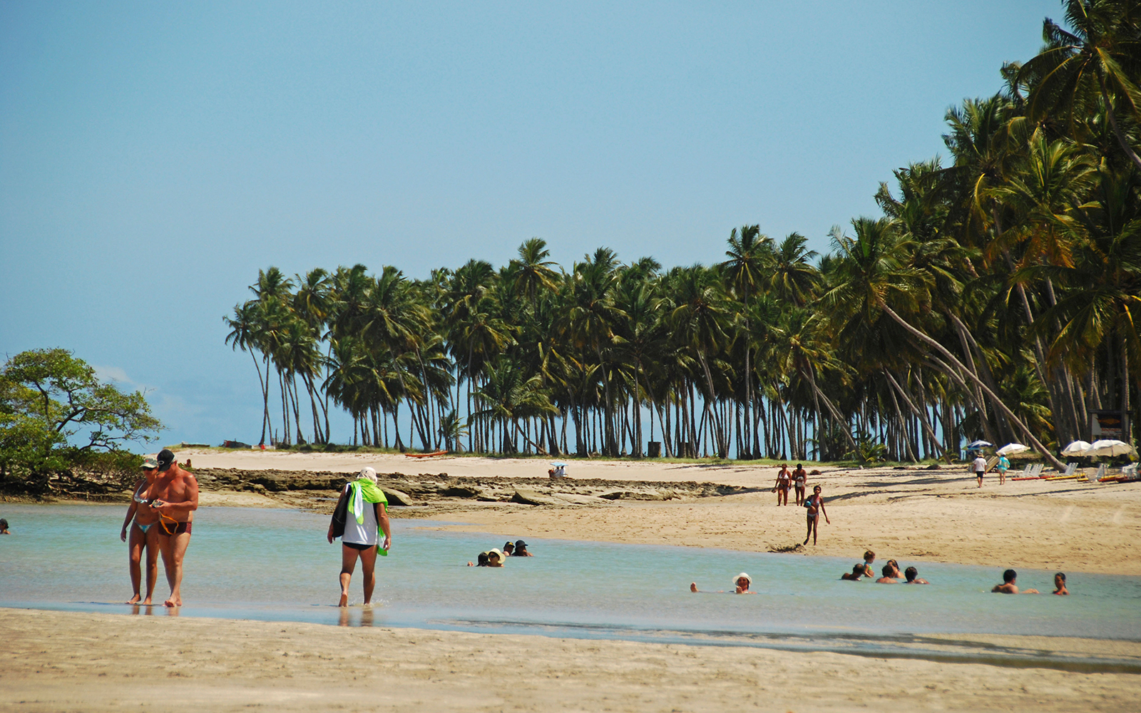 CT4KH1 Brazil, Pernambuco, Praia dos Carneiros, tourists looking for natural pool fishes at low tide