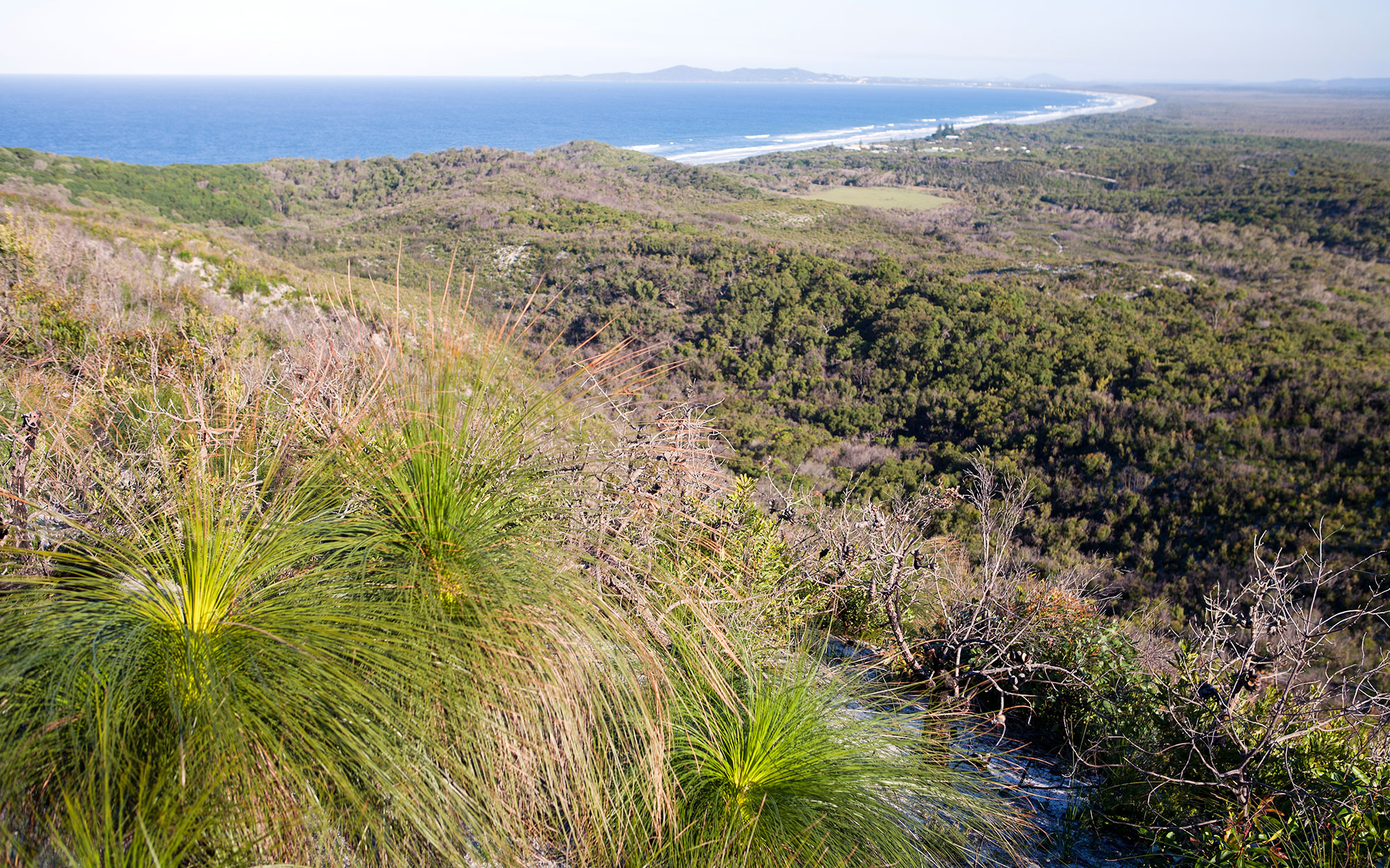 View along Teewah Beach towards Noosa Heads from Mt Seawah on the Cooloola Great Walk.
