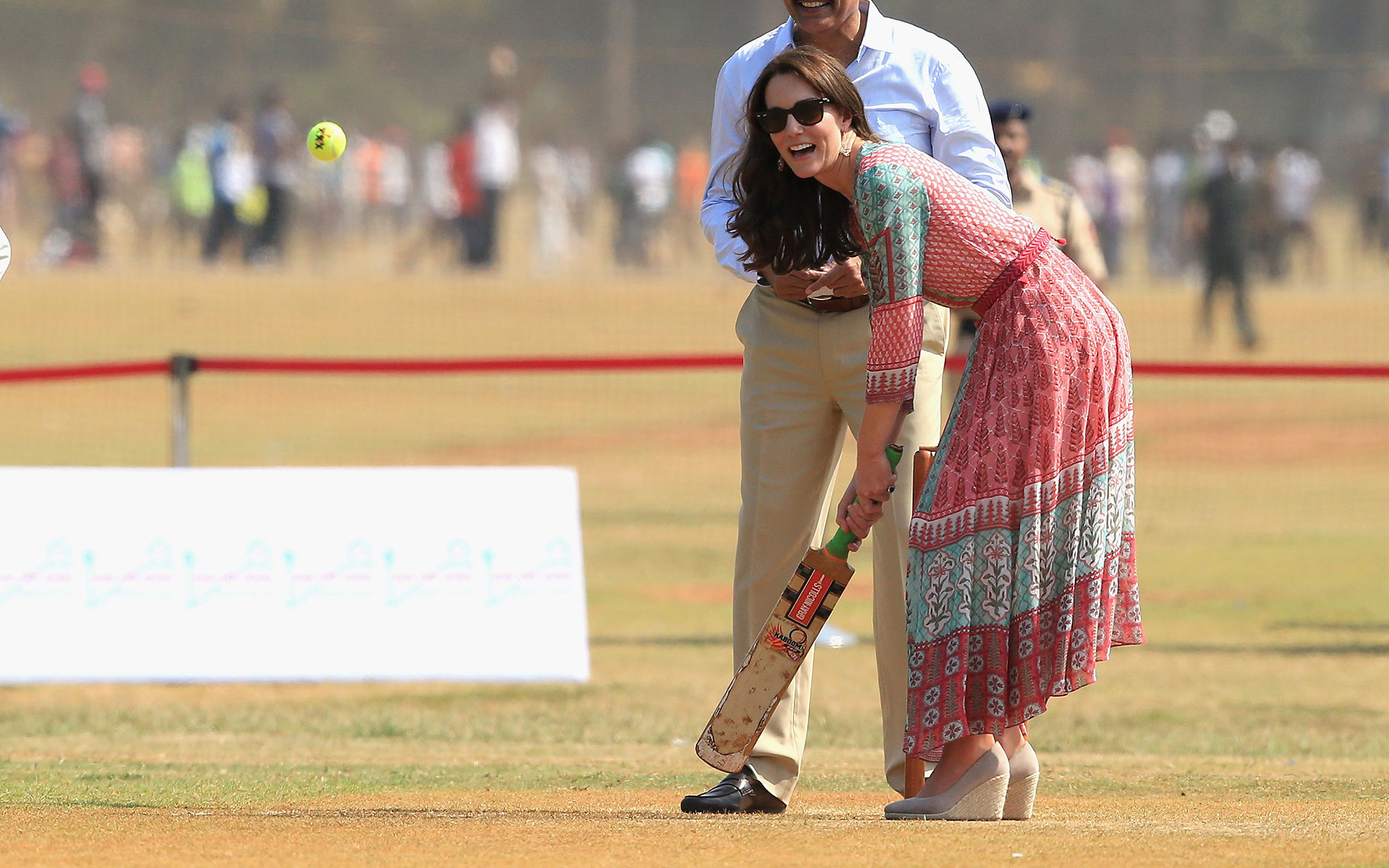 Prince William and Kate Middleton Embark on their Royal Tour of India and Bhutan: Kate Plays a Round of Cricket