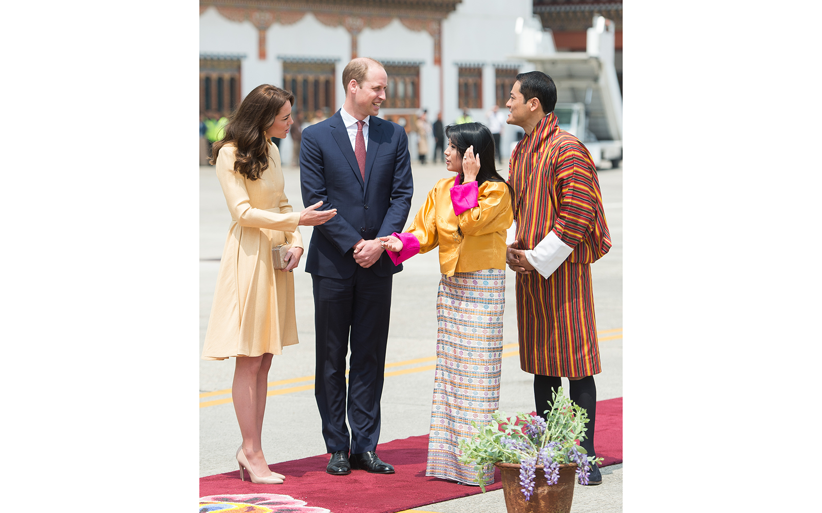 Prince William and Kate Middleton Embark on their Royal Tour of India and Bhutan: Greeting Bhutanese Royalty