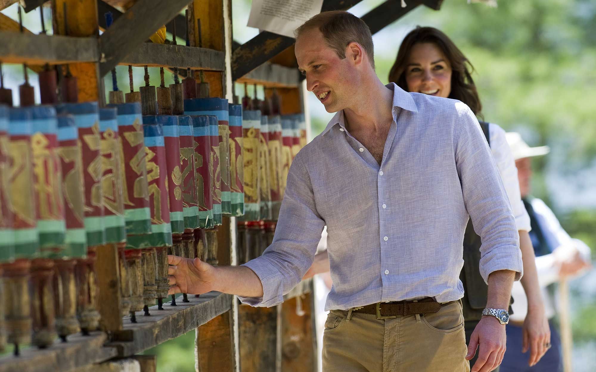 Prince William and Kate Middleton Embark on their Royal Tour of India and Bhutan: Spinning Prayer Wheels