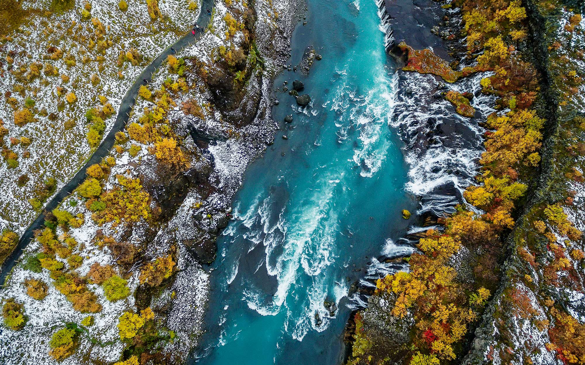 Iceland Drone Photos - Hraunfossar Waterfall