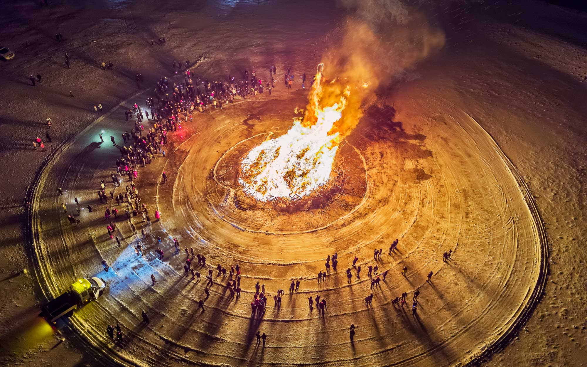 Iceland Drone Photos - Bonfire