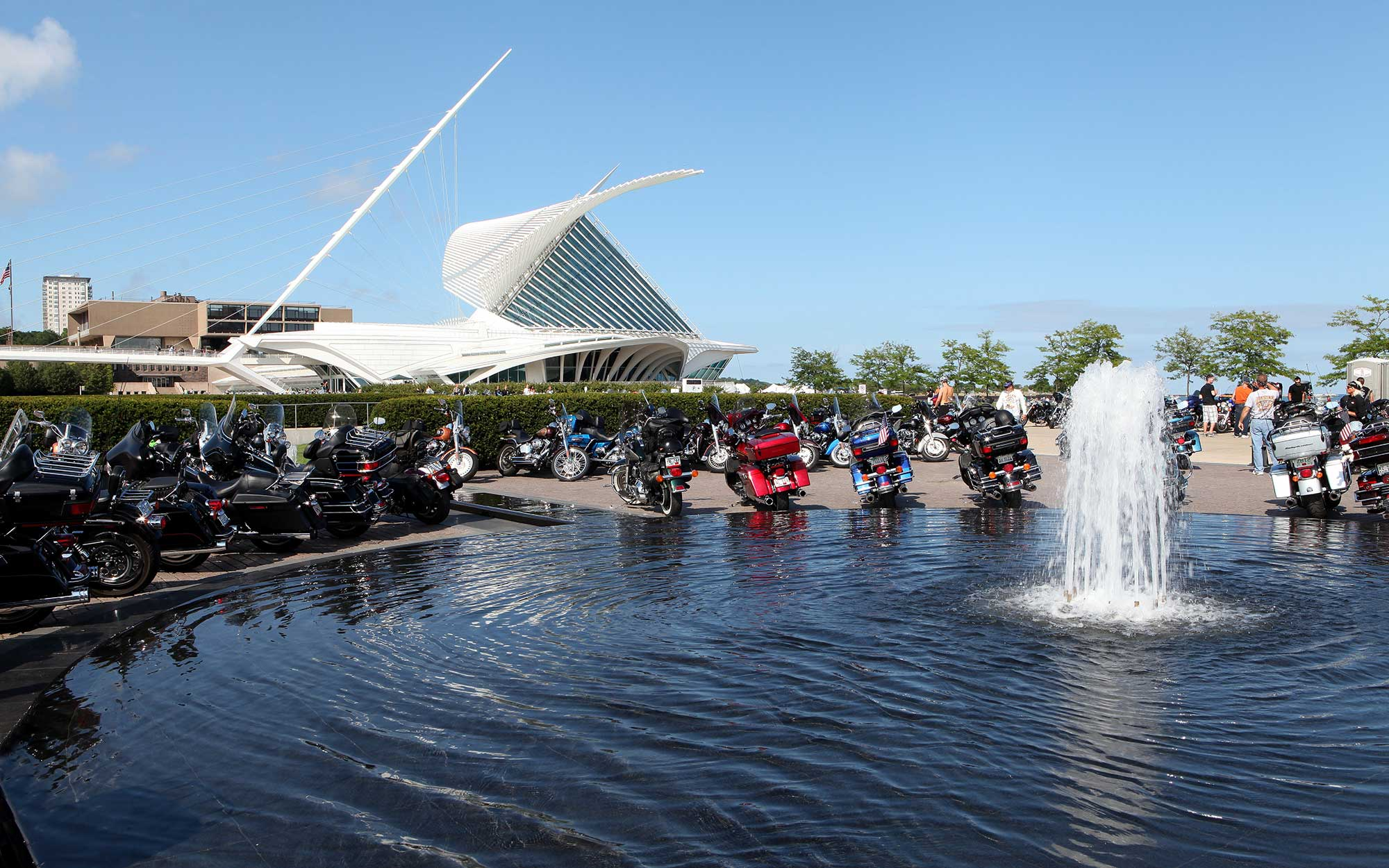 MILWAUKEE, WI - AUGUST 31:  Harley-Davidson motorcycles from around the world, sits outside the Milwaukee Art Museum to commemorate the Harley-Davidson 110th Year Anniversary Celebration in Milwaukee, Wisconsin on AUGUST 31, 2013.  (Photo By Raymond Boyd