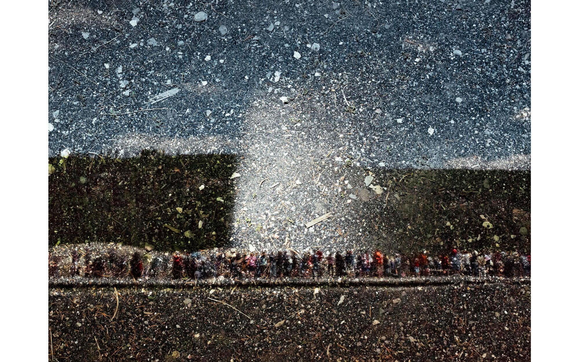 Tent-Camera Image on Ground: View of Old Faithful, Yellowstone National Park, Wyoming, 2011