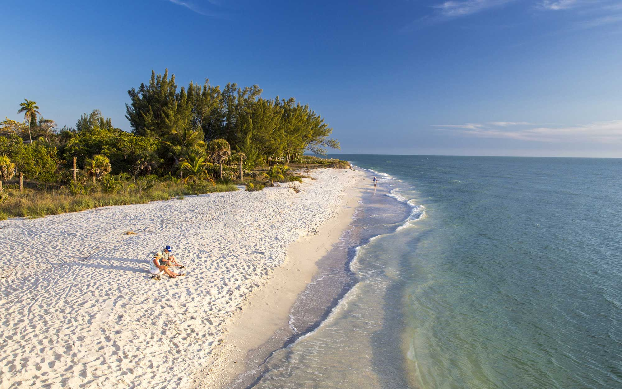 White sand beach at sunset on Sanibel Island, Florida, USA