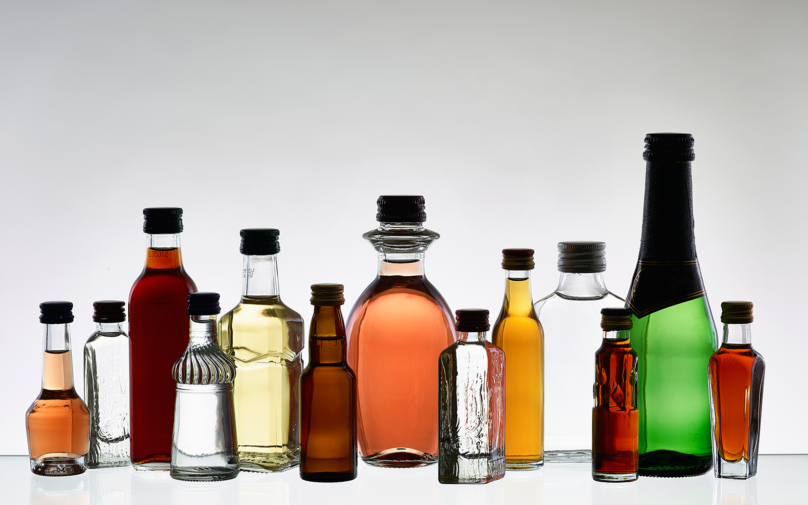 Small liquor bottles lined up