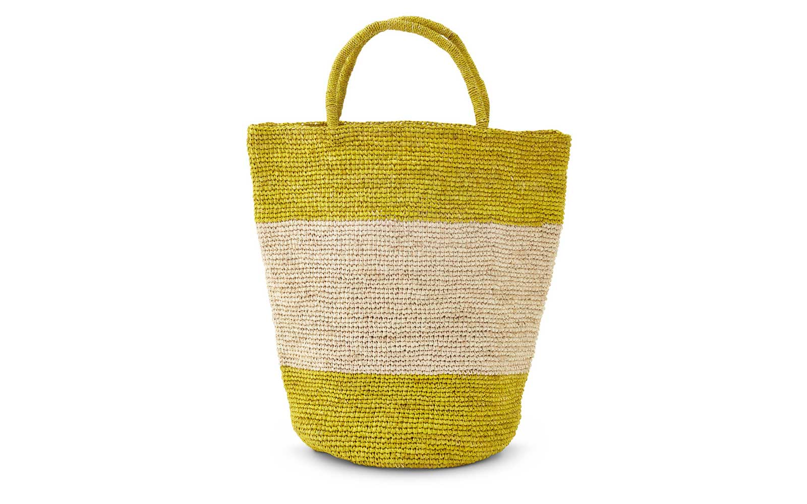 Far & Wide Collective Striped Woven Raffia Bag Made in Madagascar