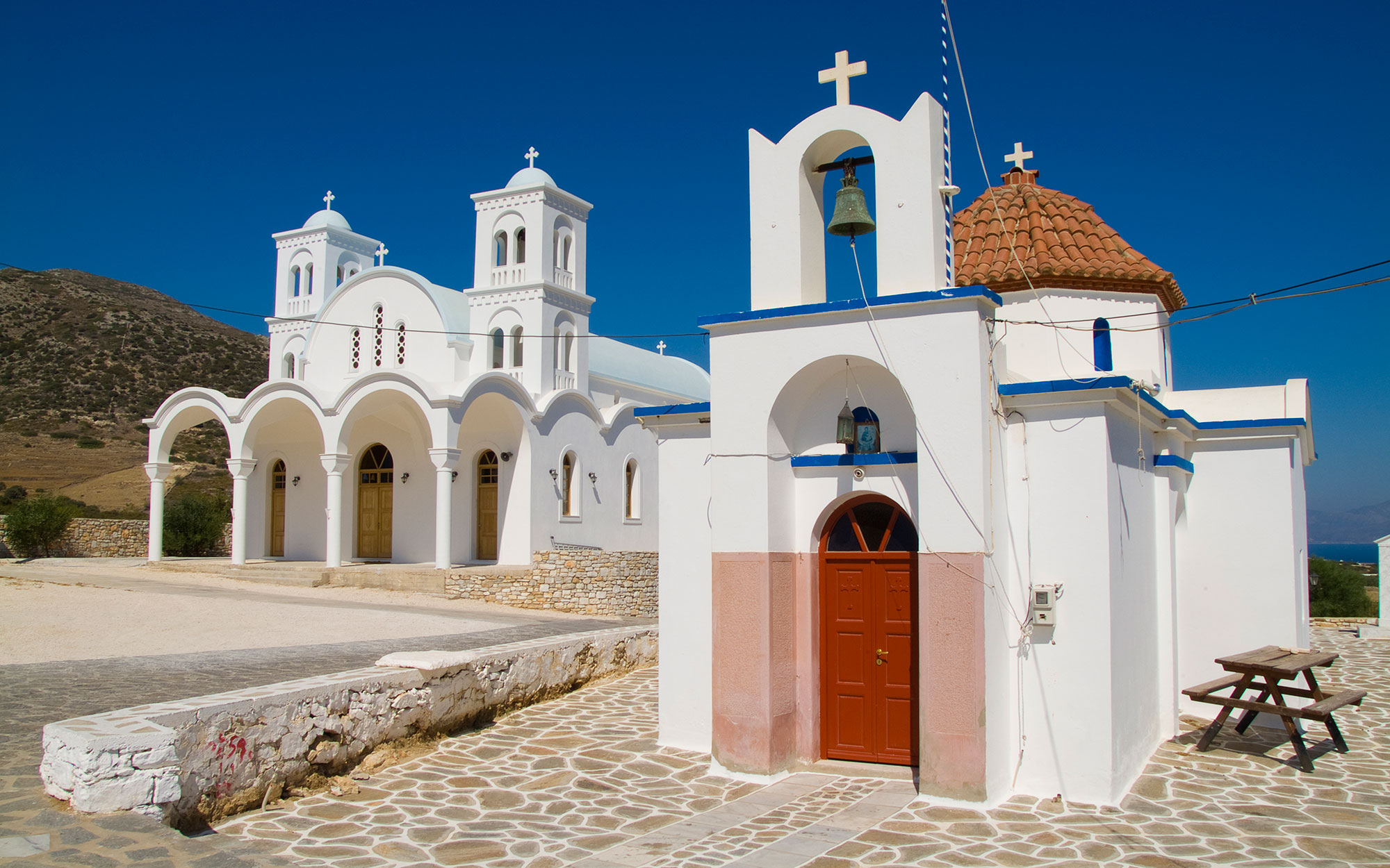 Island Of Paros, Greece, Church In Town Of Dryos
