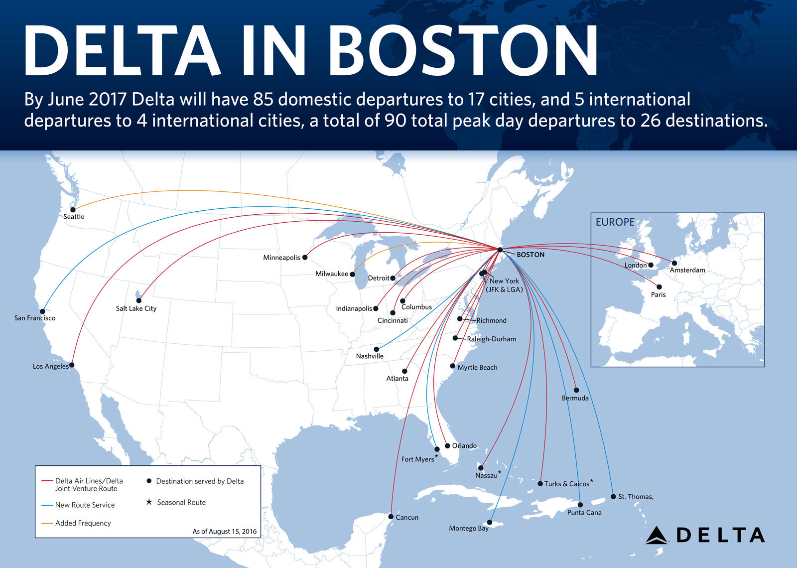 A graphic of the new Delta Air Lines routes from Boston.