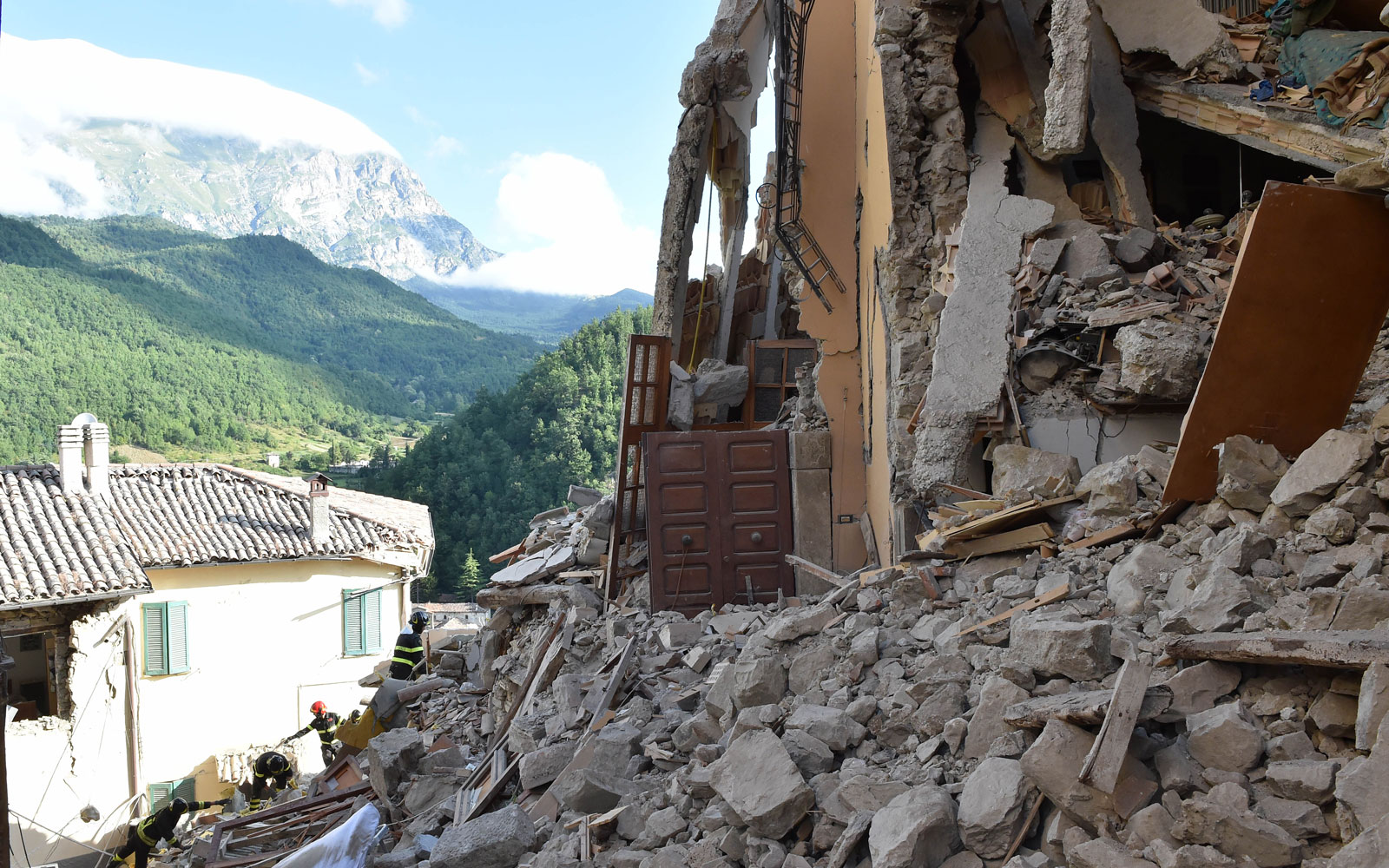 Destruction in central Italy.