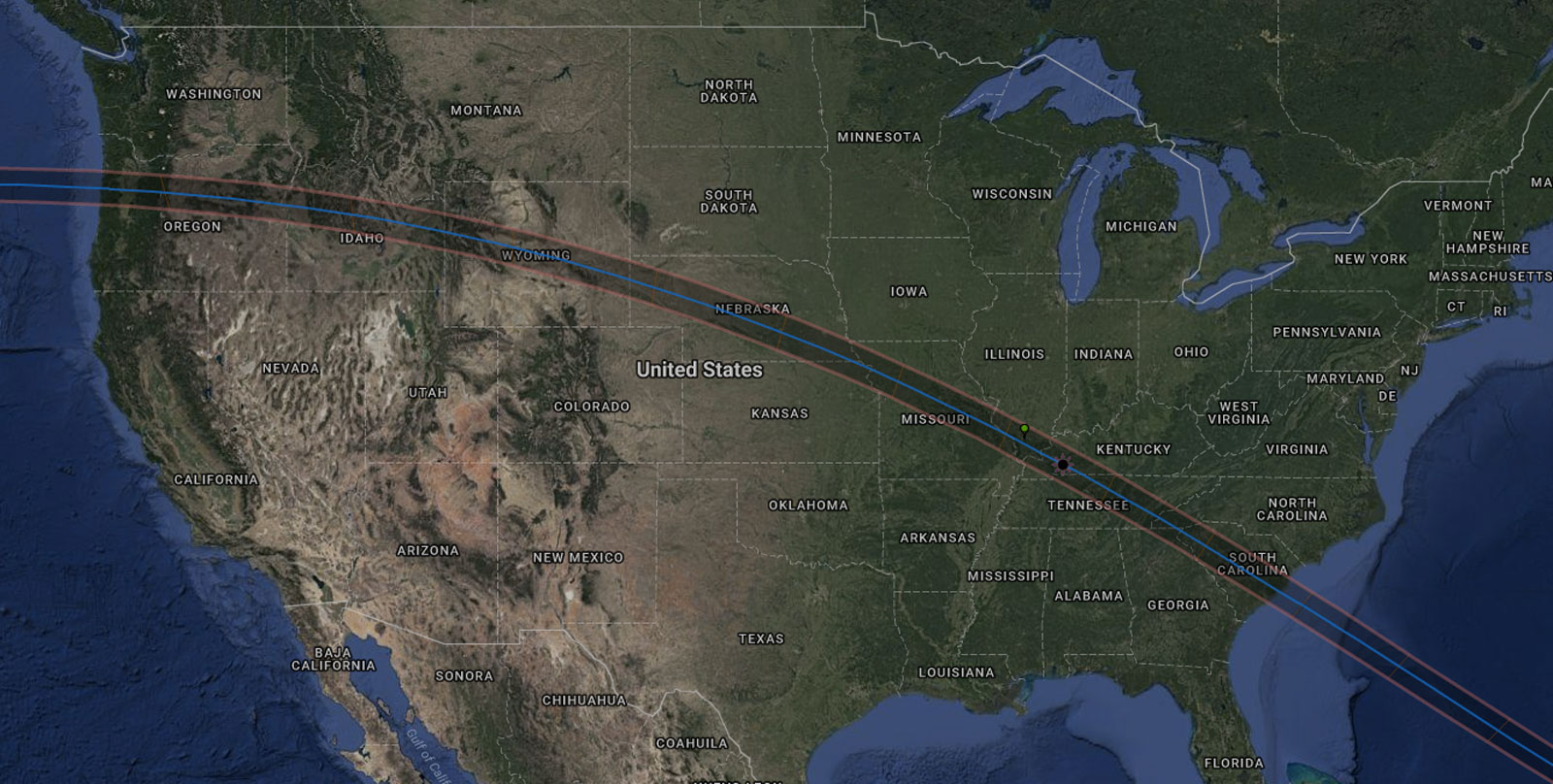 The path of the total solar eclipse on Aug. 21, 2017.