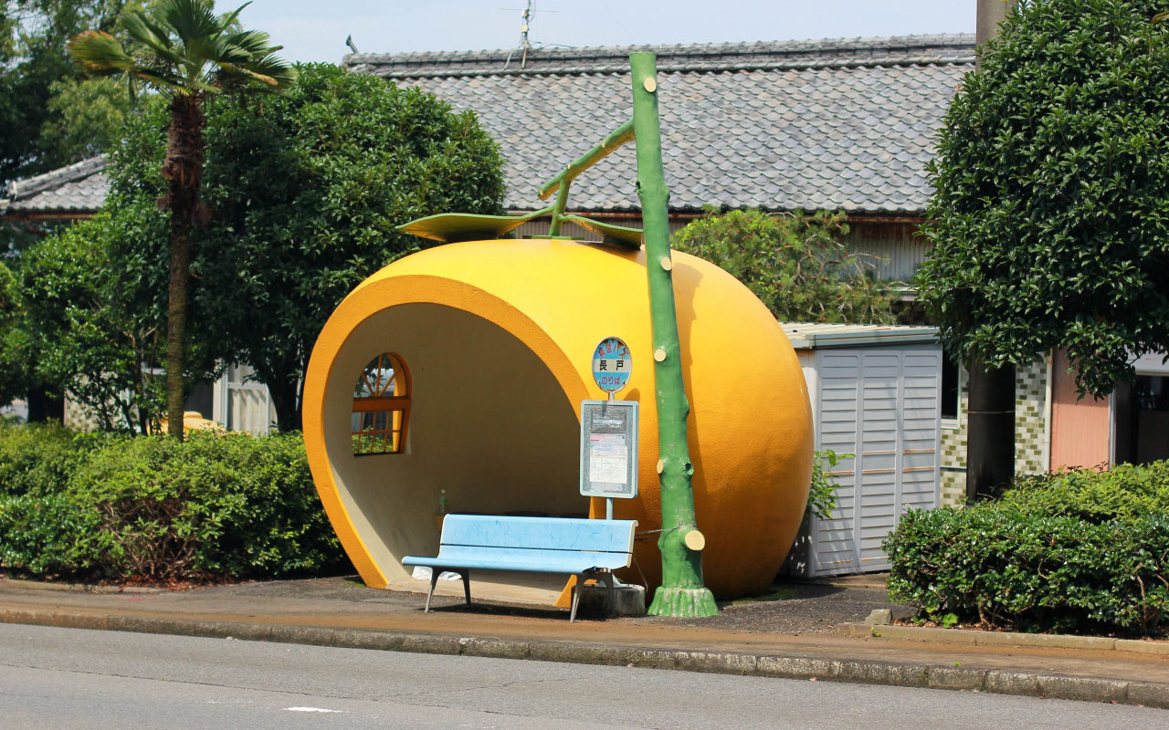 Fruit Shaped Bus Stops in Japan