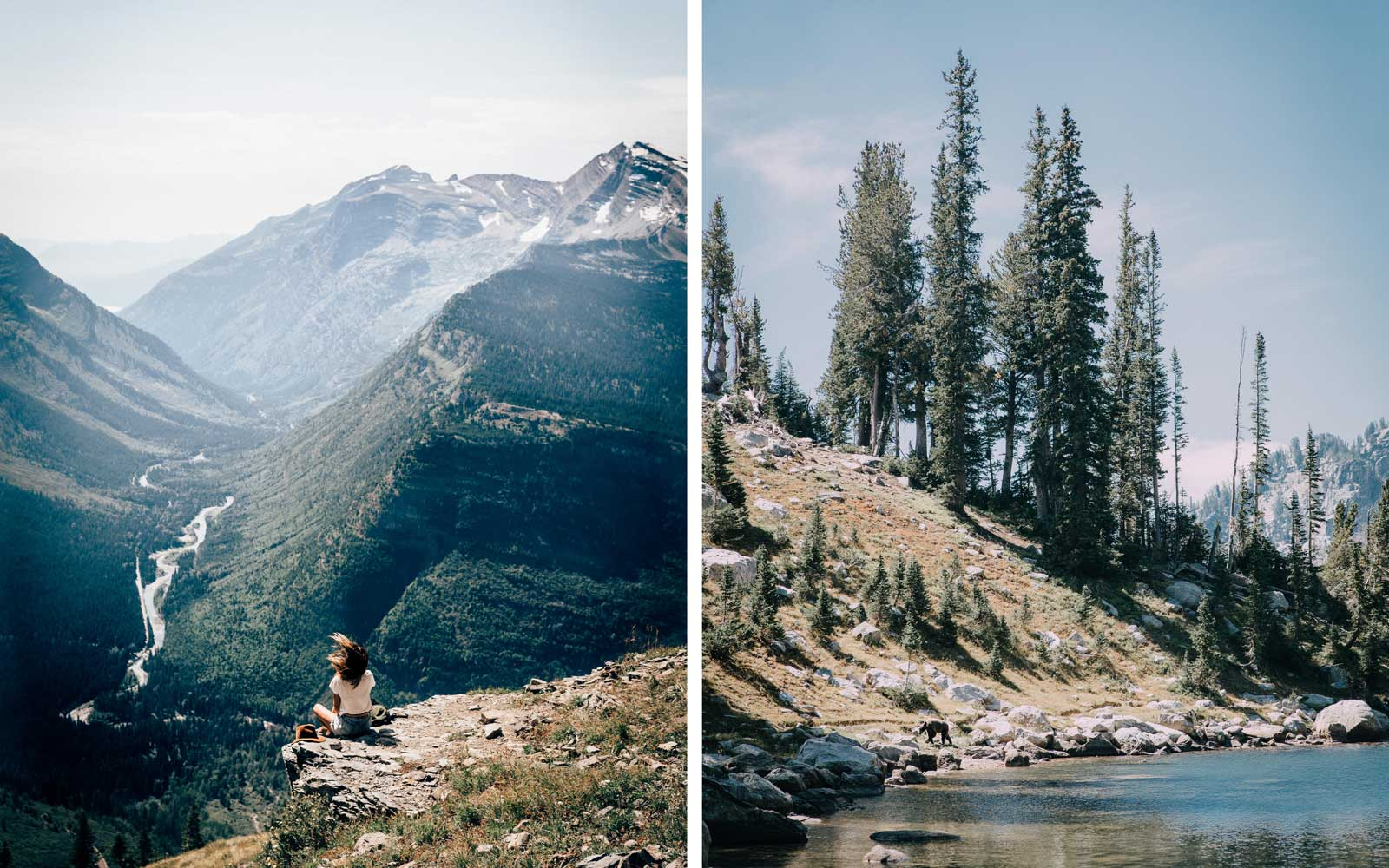 Glacier National Park (left) and Grand Teton National Park (right)