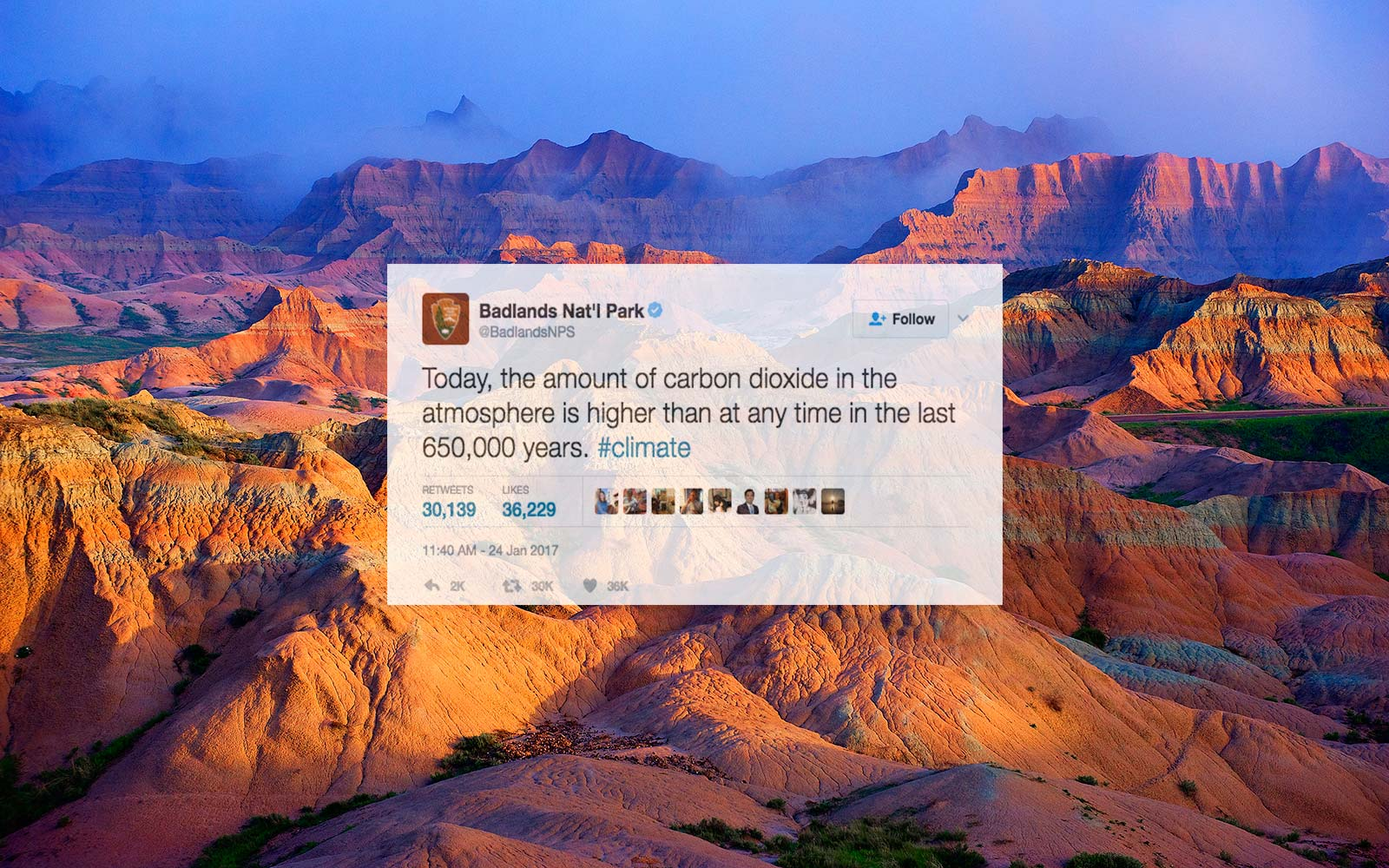 National parks tweeting about climate change