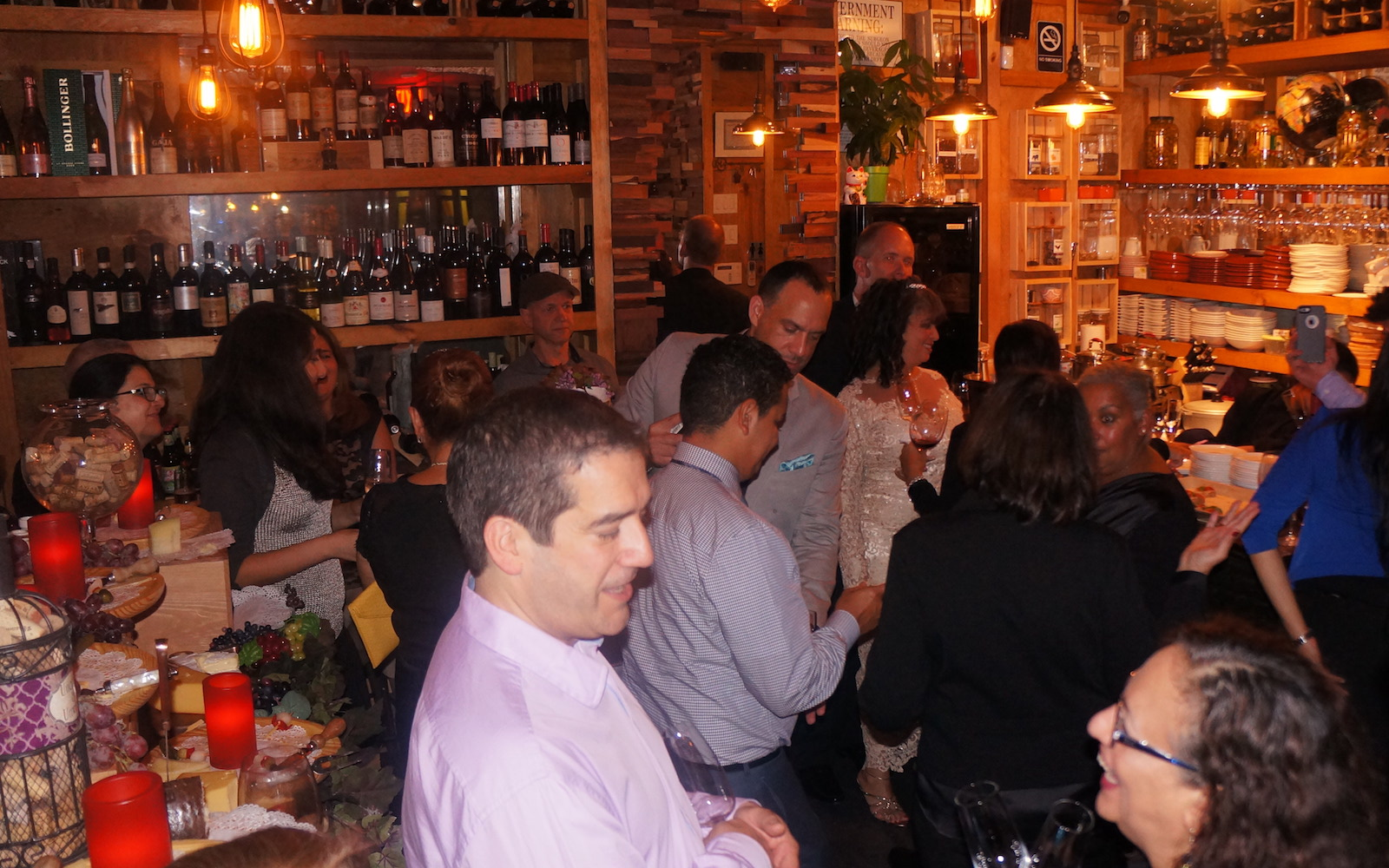 Greg and Lucie Dils host a wedding reception at a wine bar in New York City