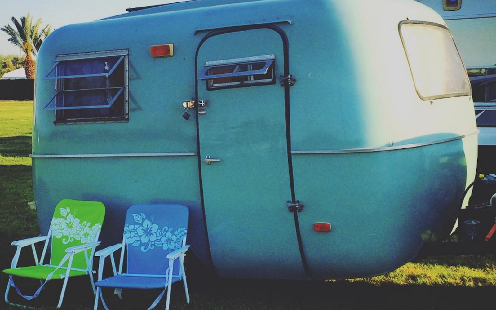 A retro RV camper at Base Camp at Coachella