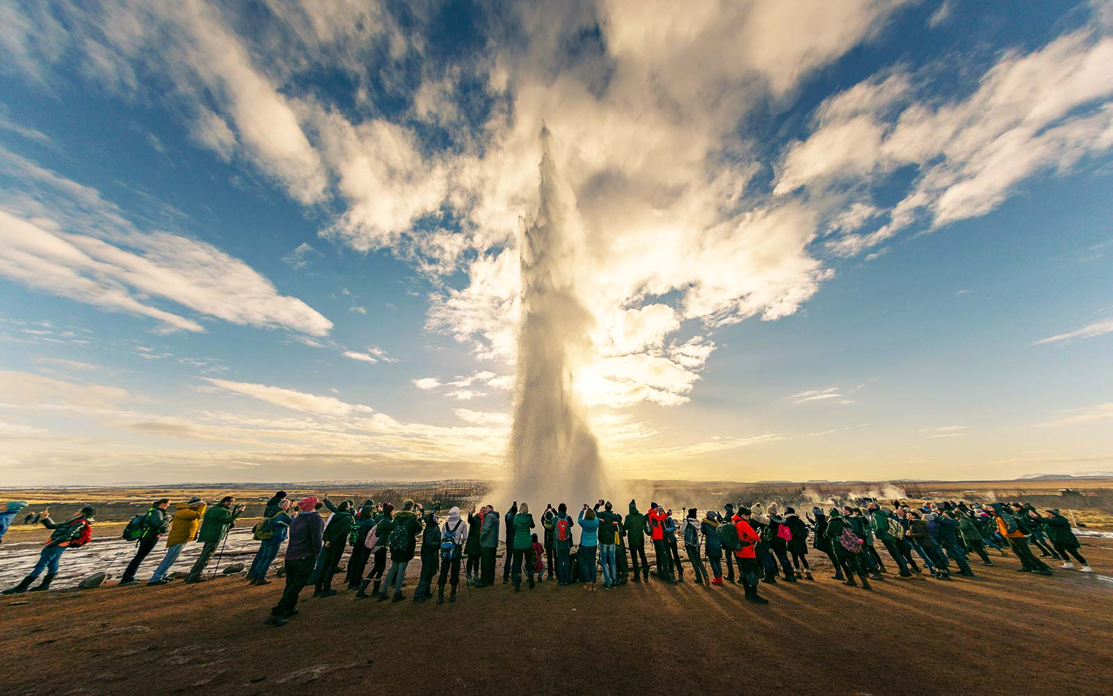 Geyser Strokkur hot spring steam Iceland