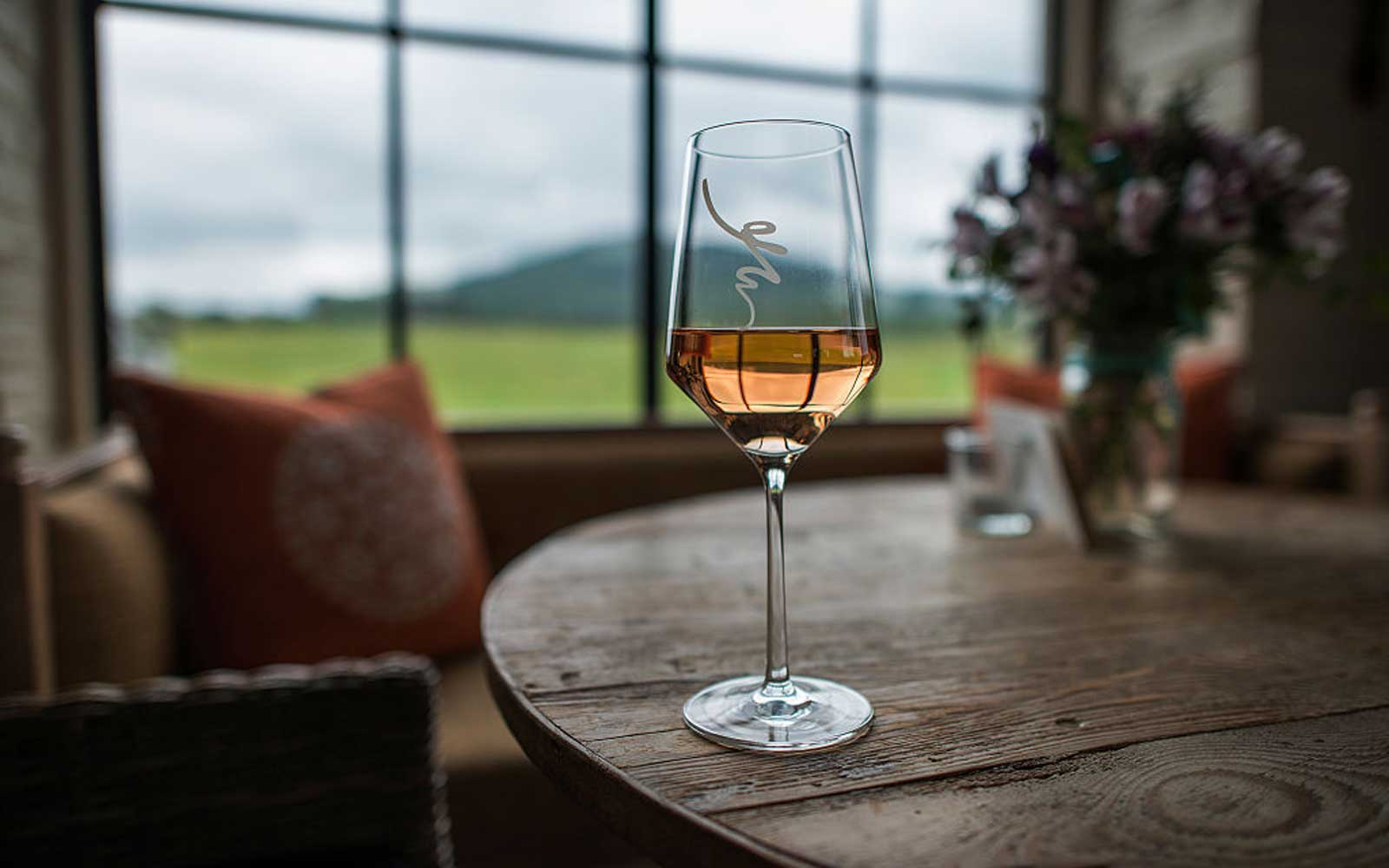 MADISON, VA - SEPTEMBER 8: A glass of rose at Early Mountain Vineyards in Madison, VA on September 8, 2014.  (Photo by Bonnie Jo Mount/The Washington Post via Getty Images)