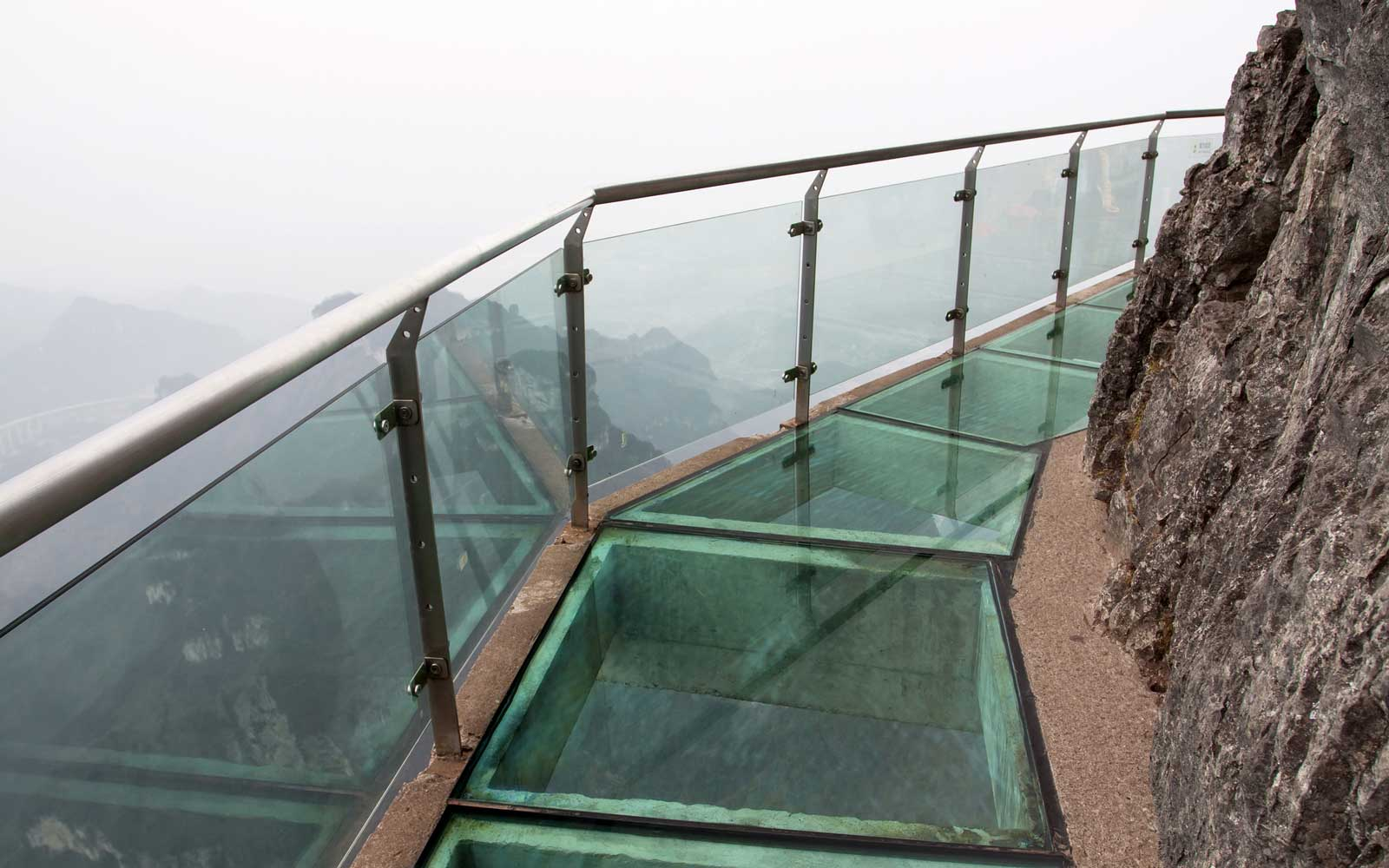Glass sky walk at Tianmenshan Mountain in China