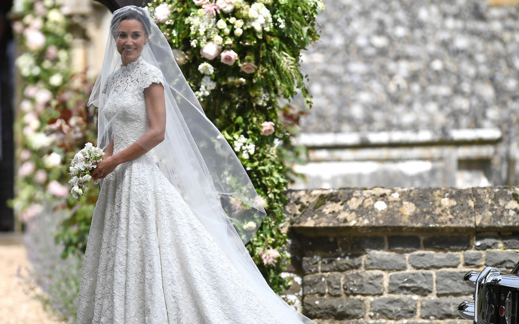 ENGLEFIELD GREEN, ENGLAND - MAY 20: Pippa Middleton  arrives for her wedding to James Matthews at St Mark's Church on May 20, 2017 in Englefield Green, England.  (Photo by Justin Tallis - WPA Pool/Getty Images)