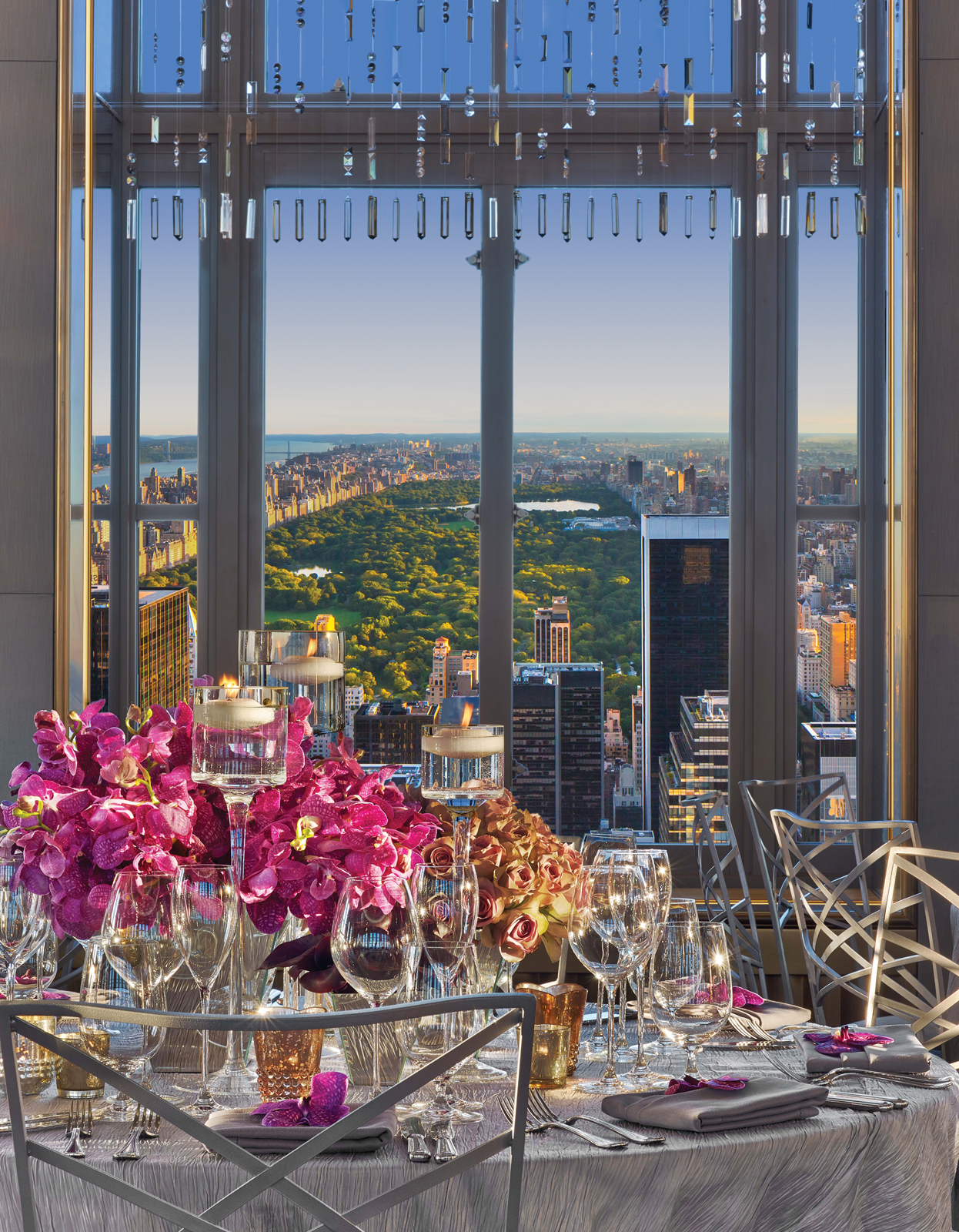 At the Rainbow Room, with a perfect view of Central Park, in New York City.