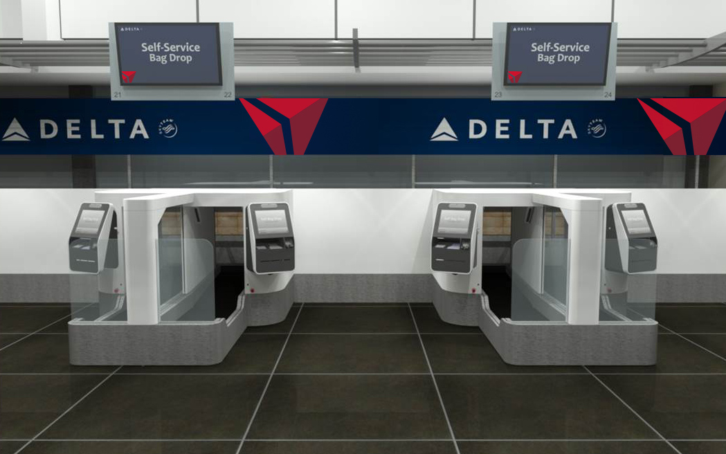 A rendering of Delta Air Lines' self-service baggage check.