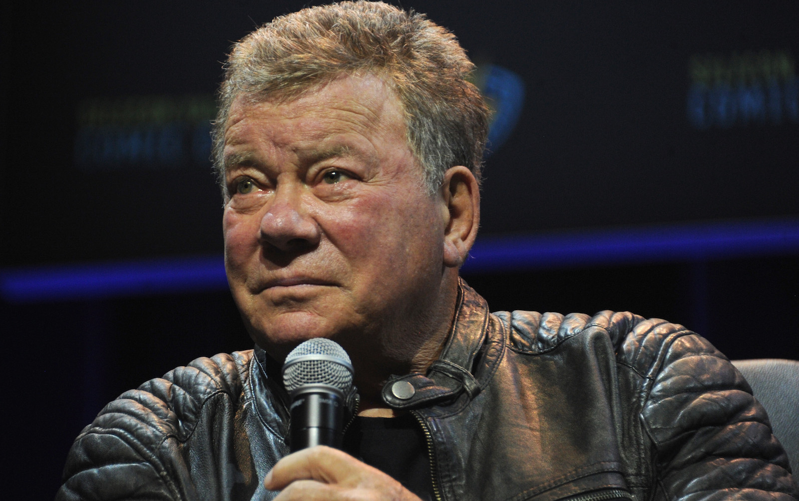 SAN JOSE, CA - APRIL 22:  Actor William Shatner moderates the 'Star Trek: The Next Generation' panel on day 2 of Silicon Valley Comic Con 2017 held at San Jose Convention Center on April 22, 2017 in San Jose, California.  (Photo by Albert L. Ortega/Getty