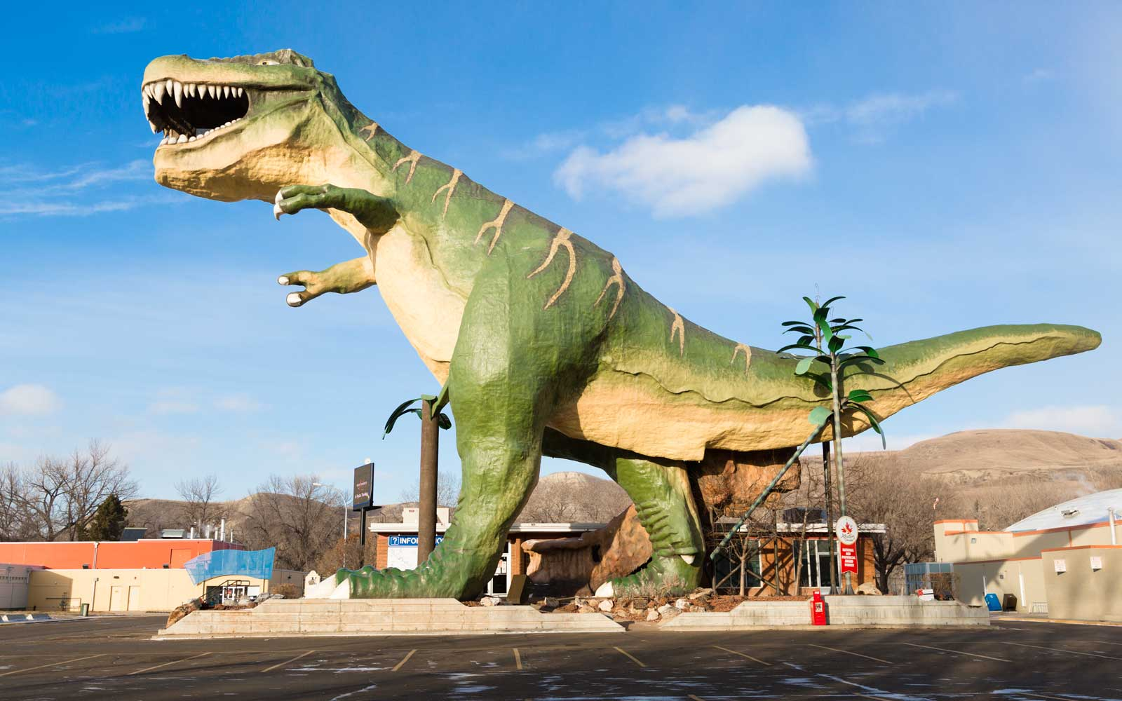 """The """"World's Largest Dinosaur"""" is the name of a model Tyrannosaurus rex located in the town of Drumheller, Alberta, Canada."""