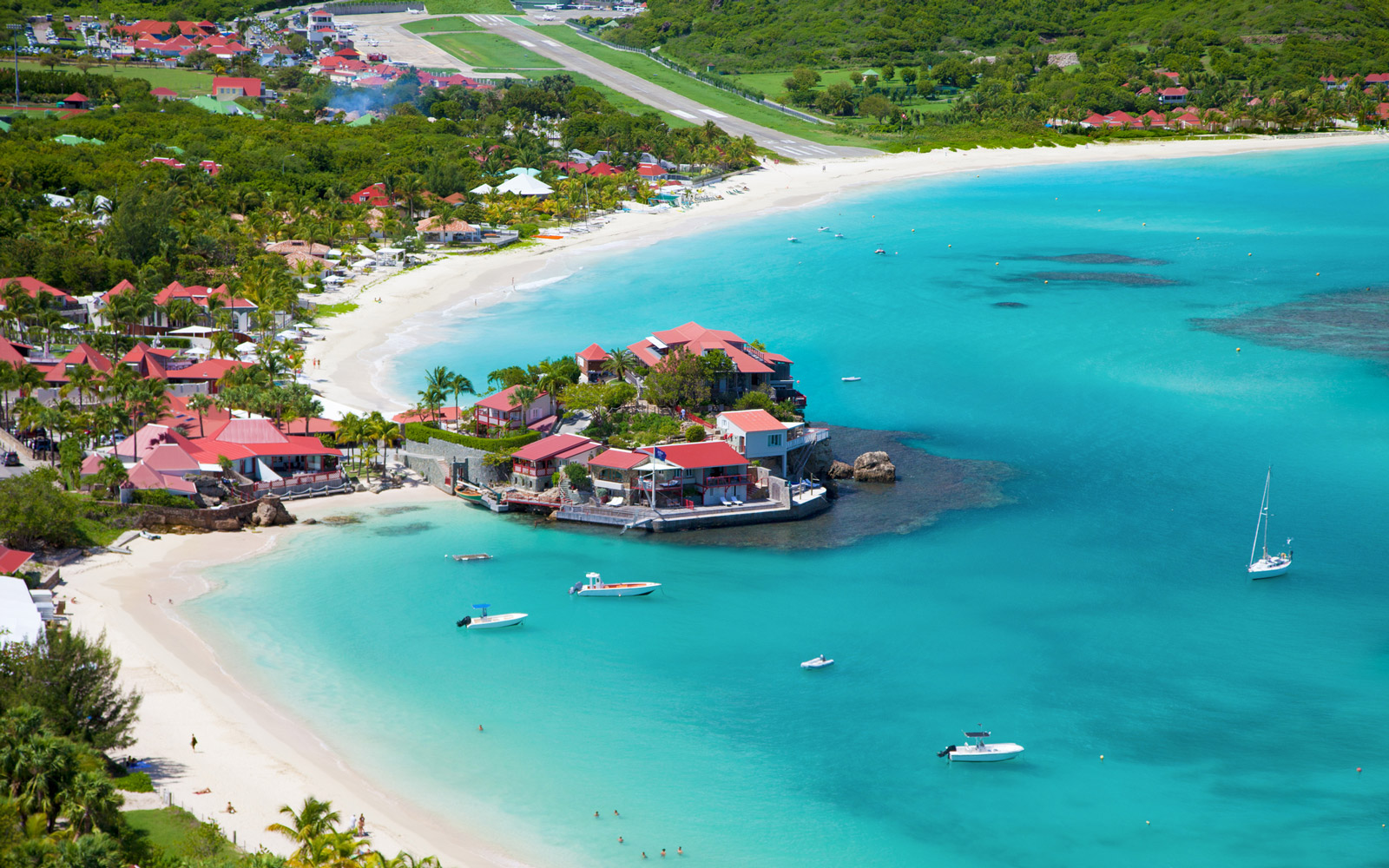 aerial view of Eden Rock at St. Jean Bay, St. Barths, French West Indies