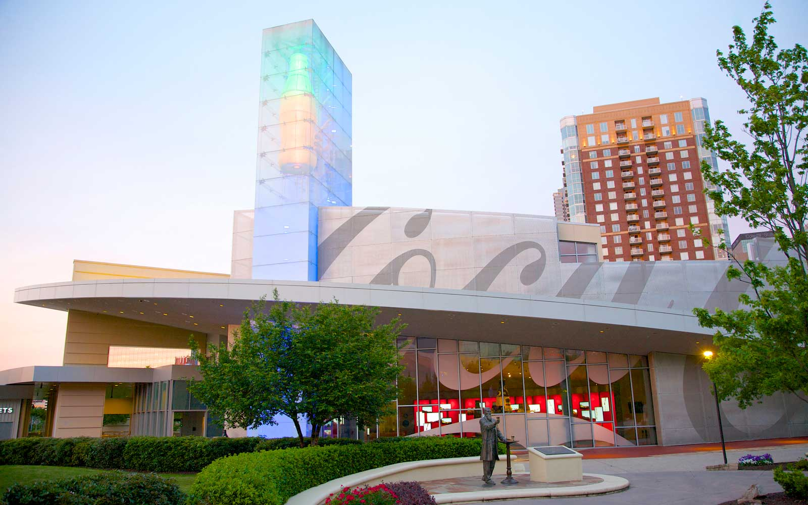 Dusk view of World of Coca-Cola, Downtown, Atlanta