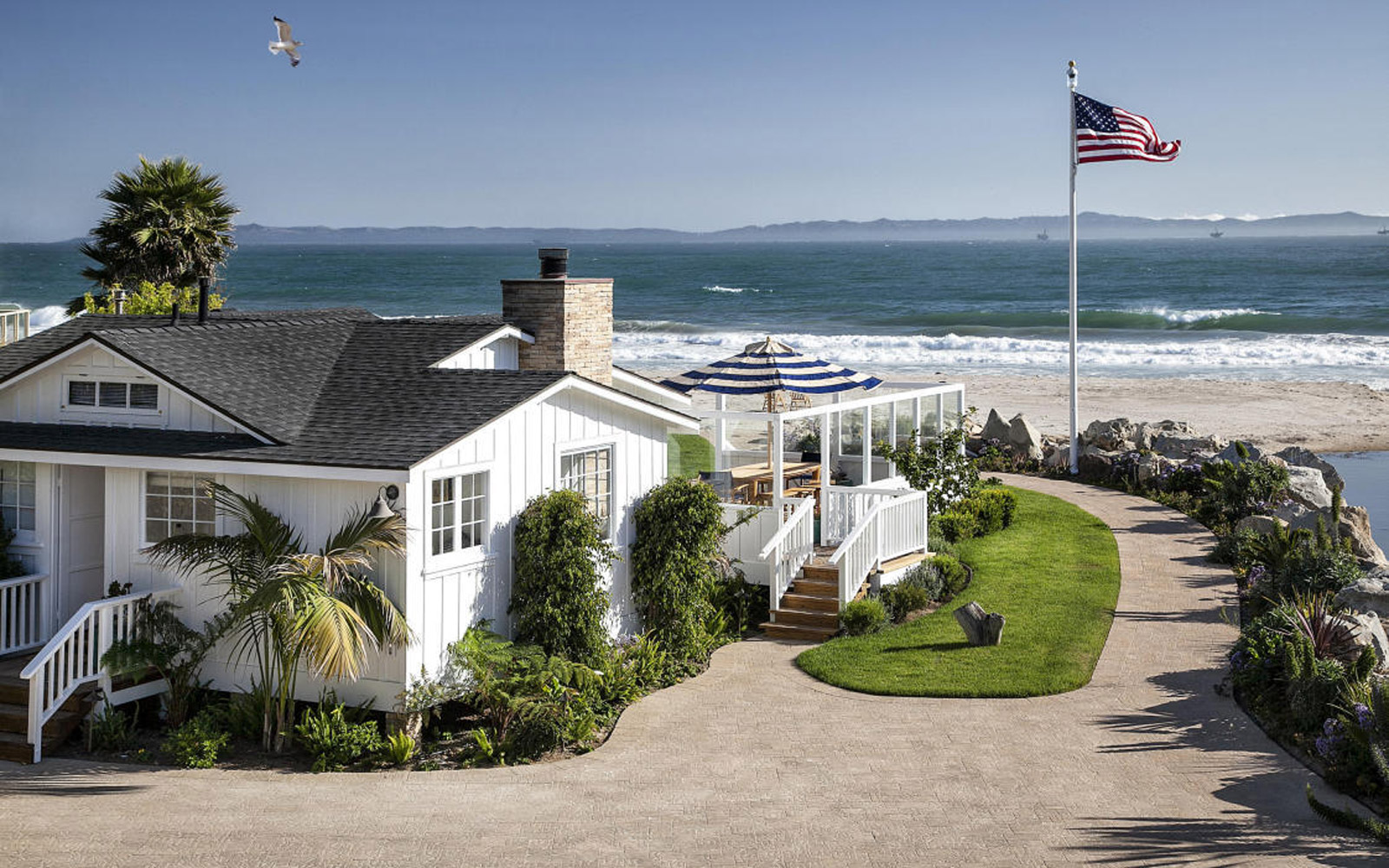View of Mila Kunis and Ashton Kutcher's Beach House from the Back